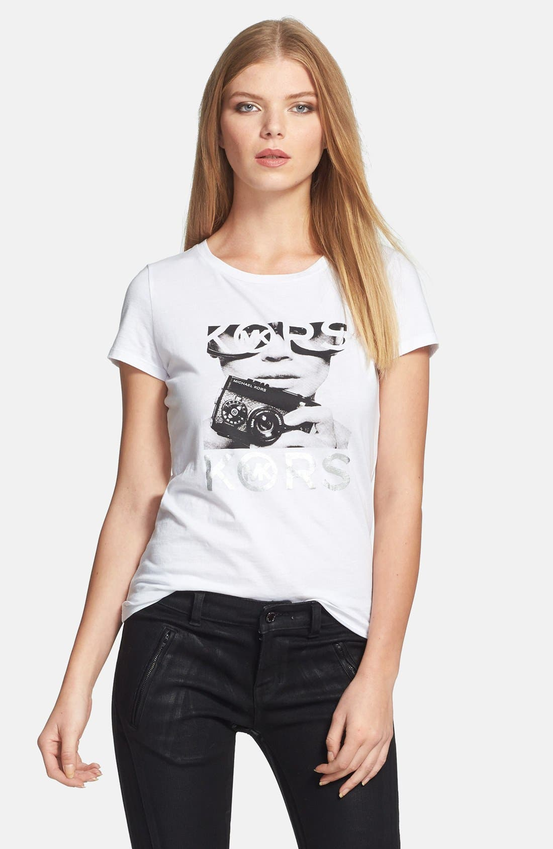 Main Image - MICHAEL Michael Kors 'Photoshoot' Logo Tee (Regular & Petite)