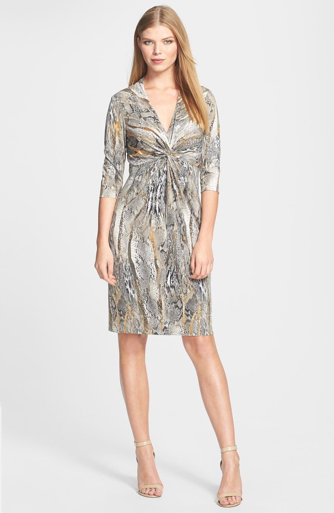 Alternate Image 3  - Donna Ricco Python Print Front Twist Jersey Dress (Regular & Petite)