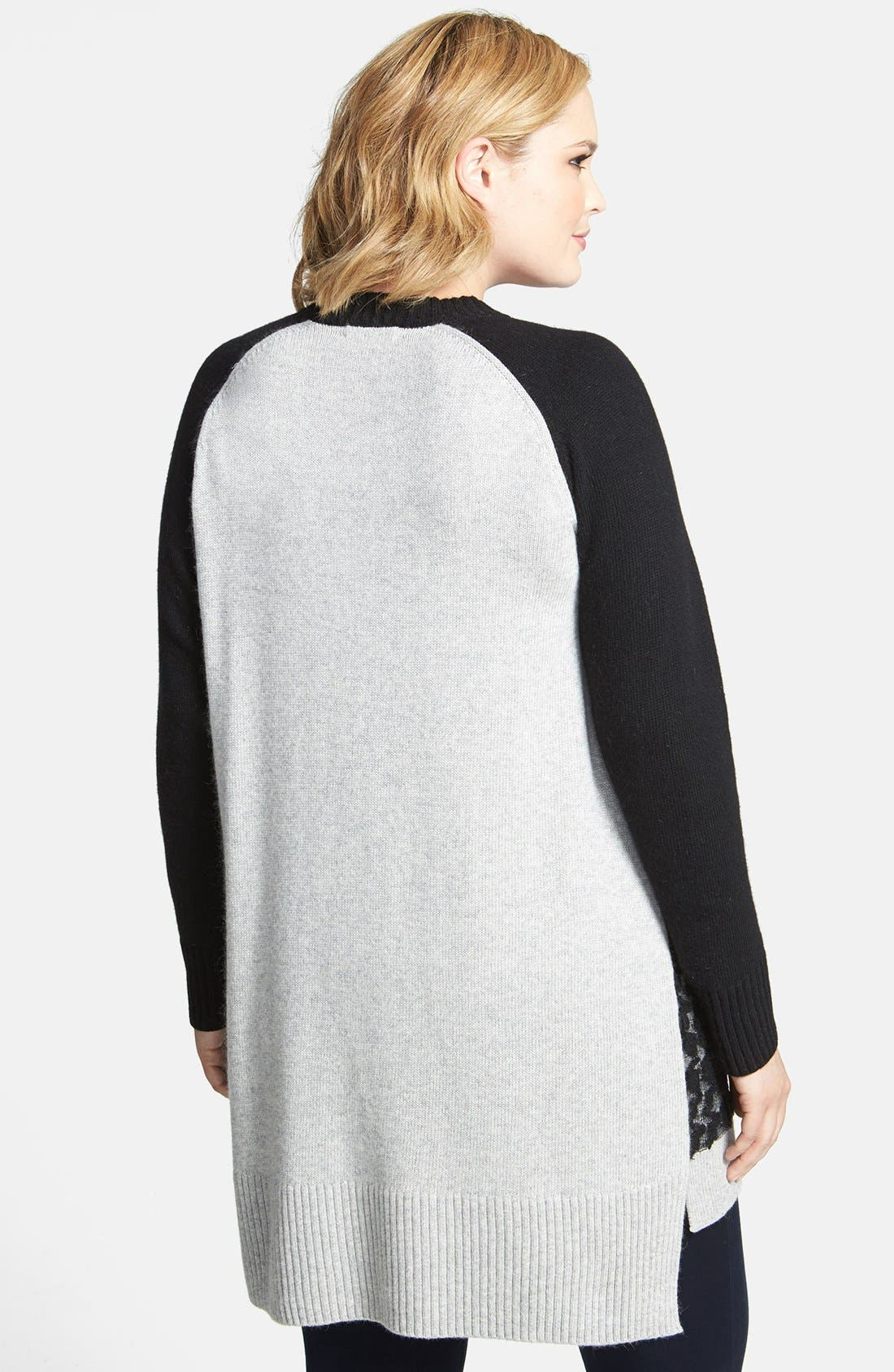 Alternate Image 2  - DKNYC Open Front Houndstooth Textured Cardigan (Plus Size)