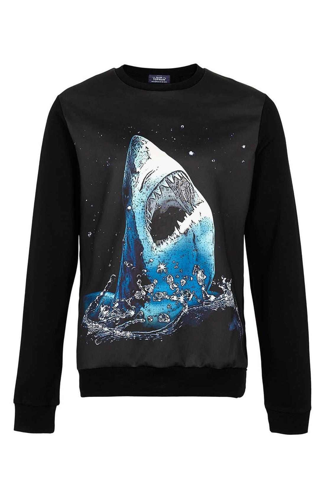 Alternate Image 1 Selected - Topman Shark Graphic Sweatshirt