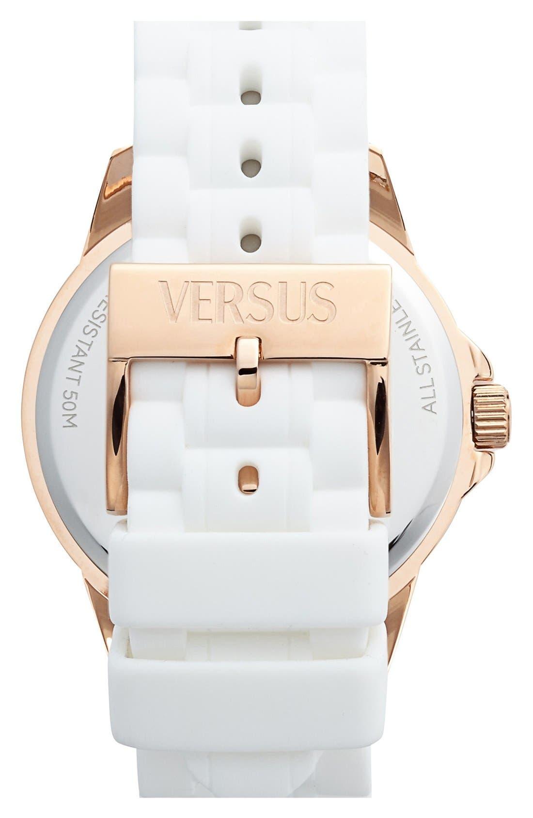 Alternate Image 2  - VERSUS by Versace 'Tokyo' Crystal Bezel Silicone Strap Watch, 42mm