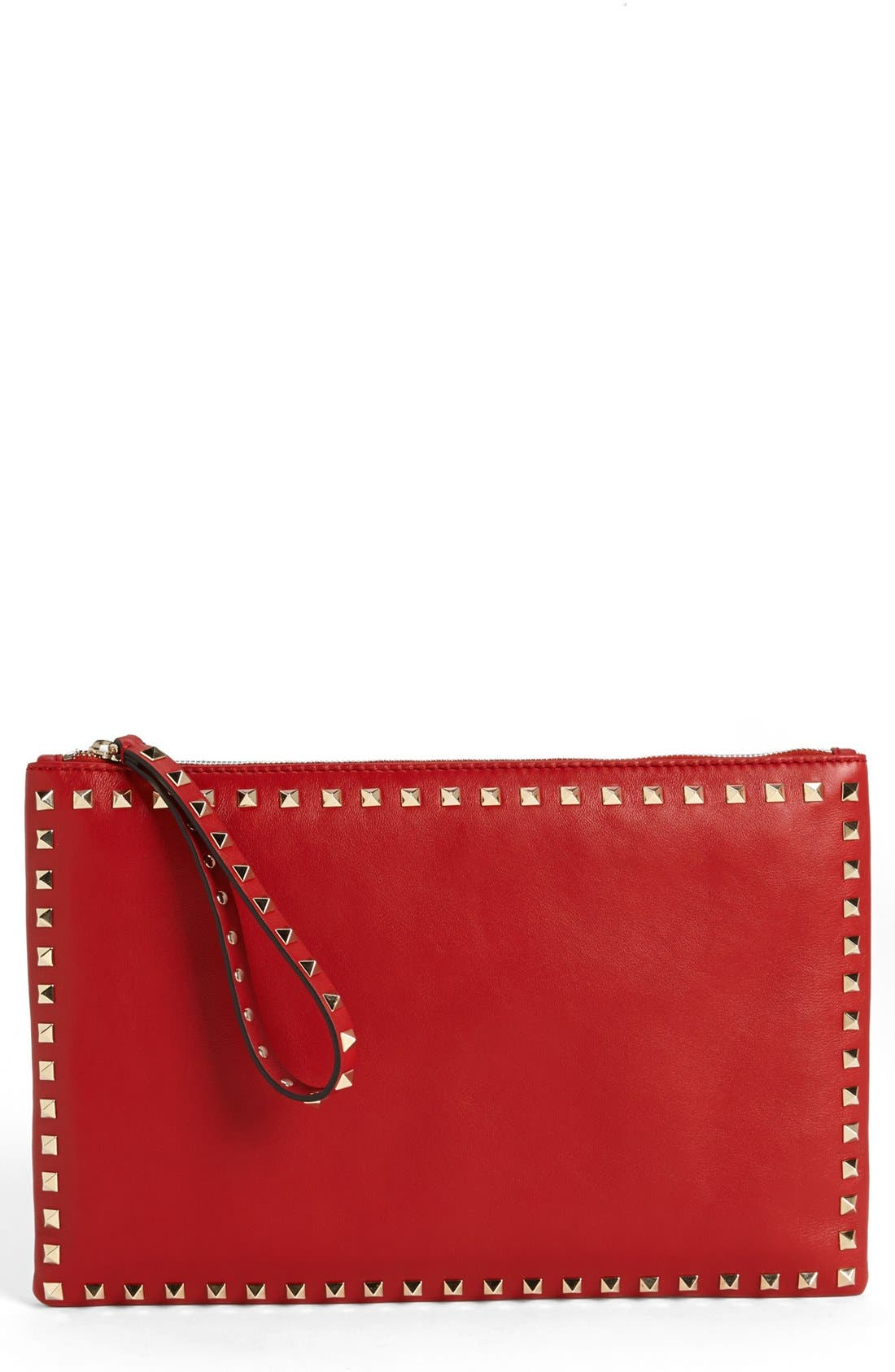 Main Image - Valentino 'Rockstud - Flat' Nappa Leather Clutch