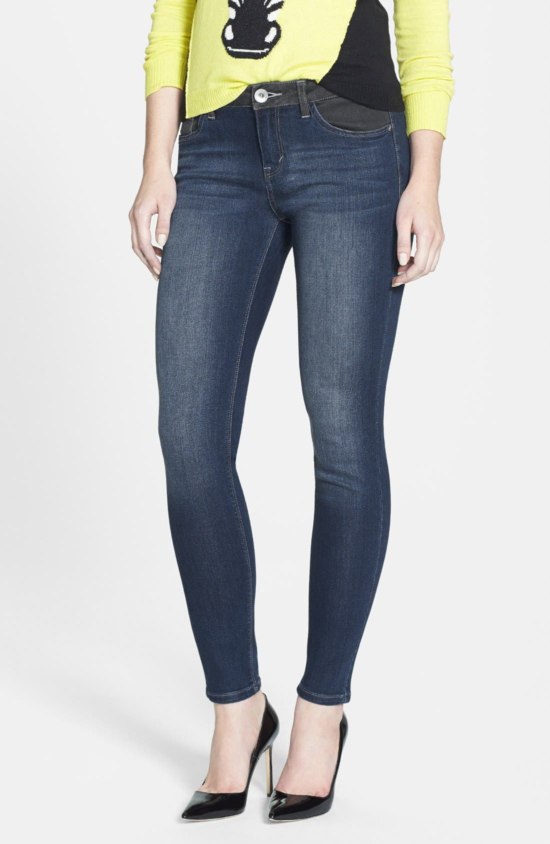 Main Image - kensie 'Ankle Biter' Colorblock Skinny Jeans (Electric Youth)