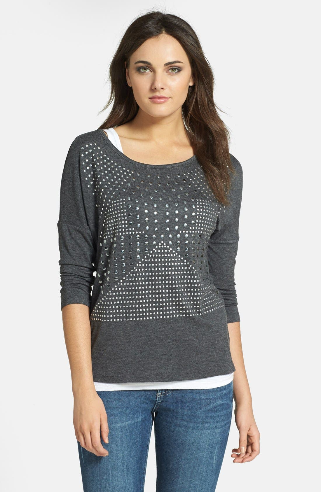 Alternate Image 1 Selected - Pleione Studded Front Stretch Jersey Tee