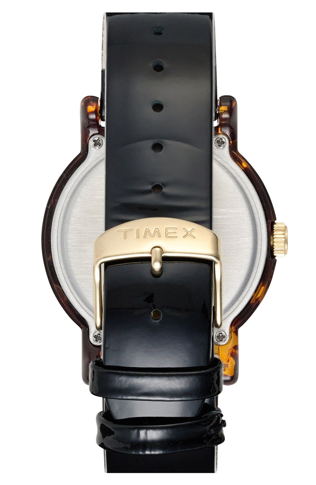 Alternate Image 2  - Timex® Round Patent Leather Strap Watch, 40mm