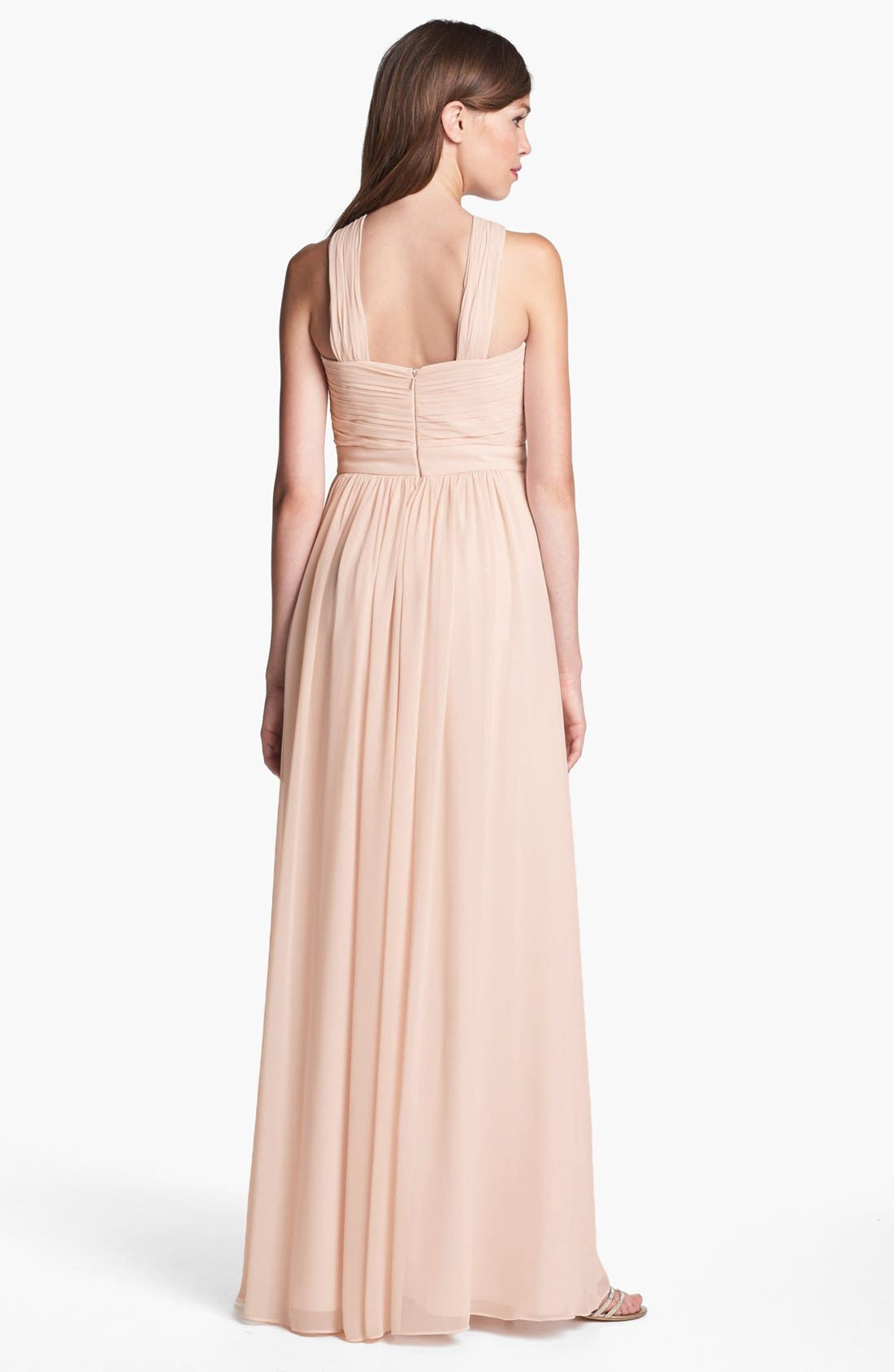 Alternate Image 2  - Monique Lhuillier Bridesmaids Crisscross Chiffon Gown (Nordstrom Exclusive)