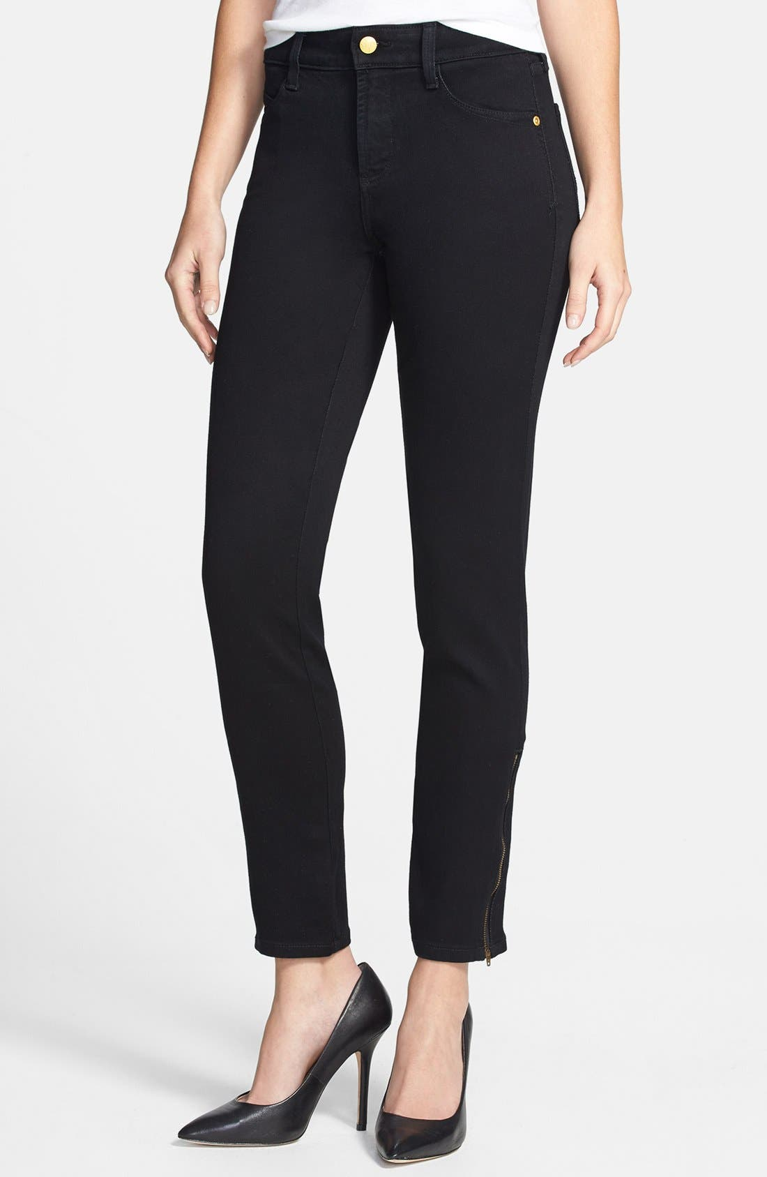 Main Image - NYDJ 'Josephine' Side Zip Stretch Ankle Jeans (Black)