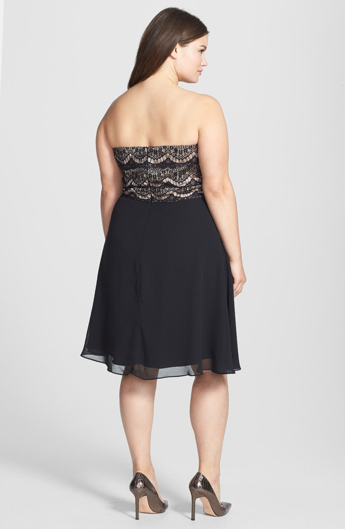 Alternate Image 2  - City Chic Mixed Media Fit & Flare Dress (Plus Size)