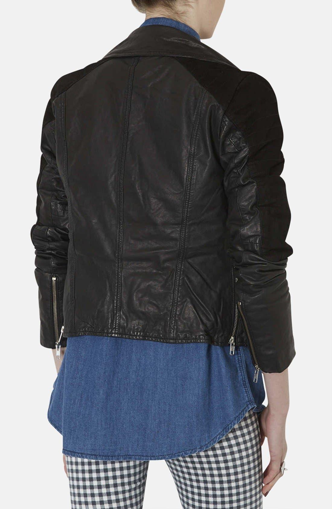 Alternate Image 2  - Topshop Mixed Leather Biker Jacket