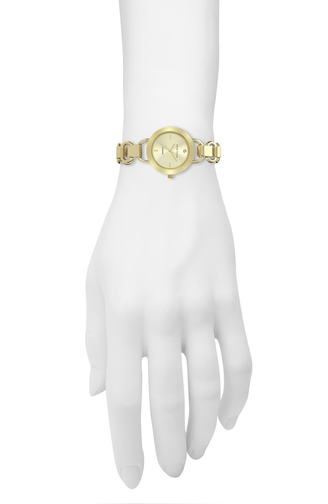 Alternate Image 3  - Anne Klein Diamond Dial Bracelet Watch, 34mm