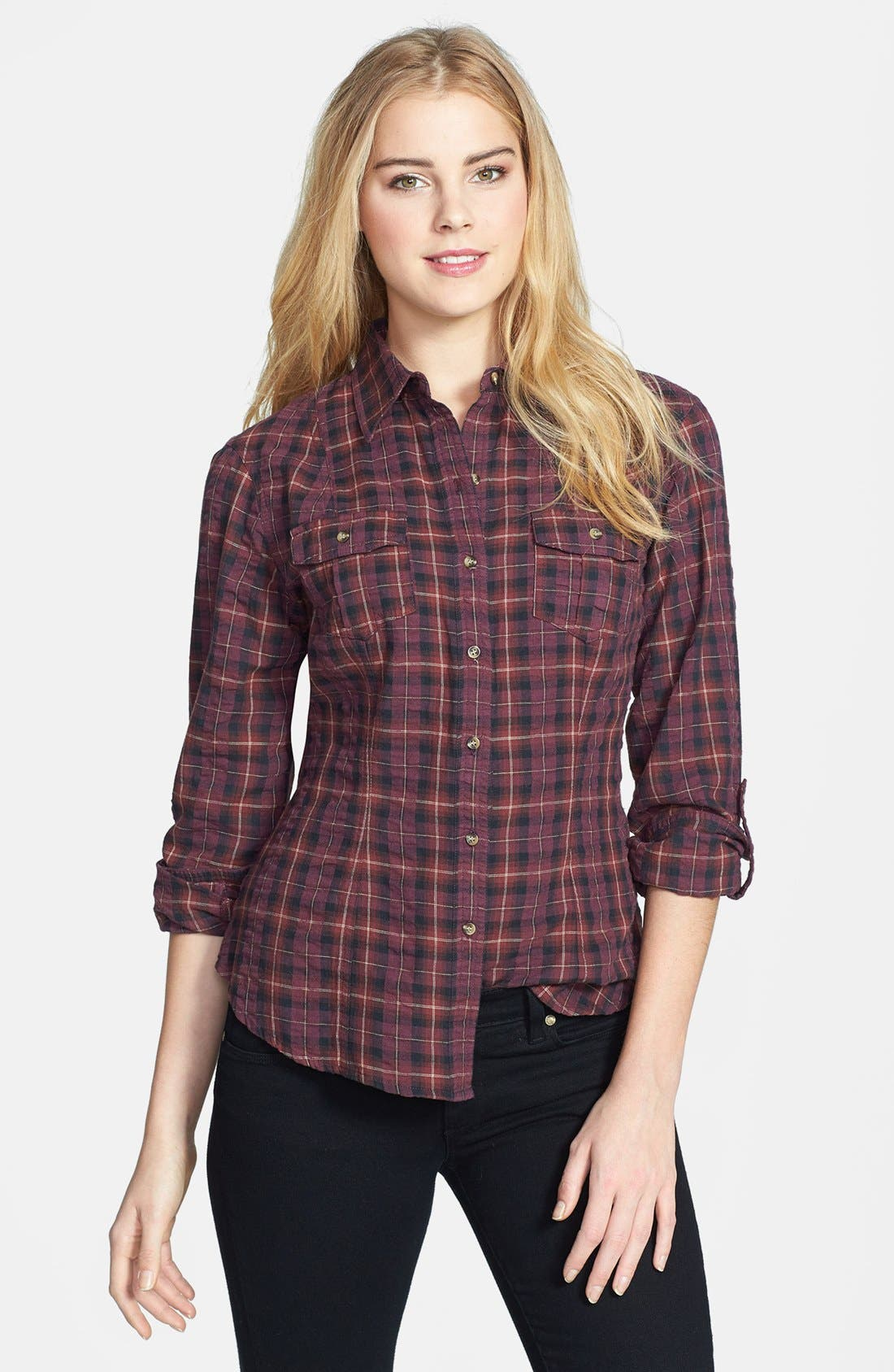 Alternate Image 1 Selected - Sandra Ingrish Brushed Twill Tartan Shirt