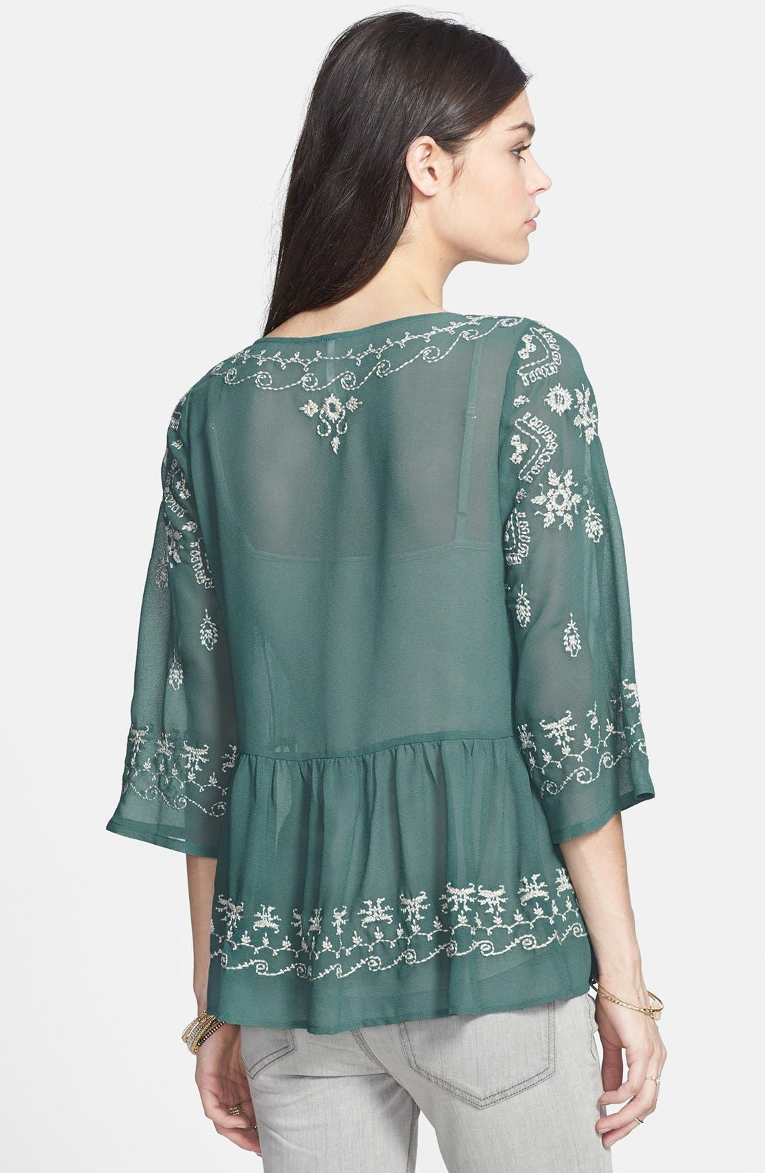 Alternate Image 2  - Free People 'Pennies Sequal' Embroidered Top