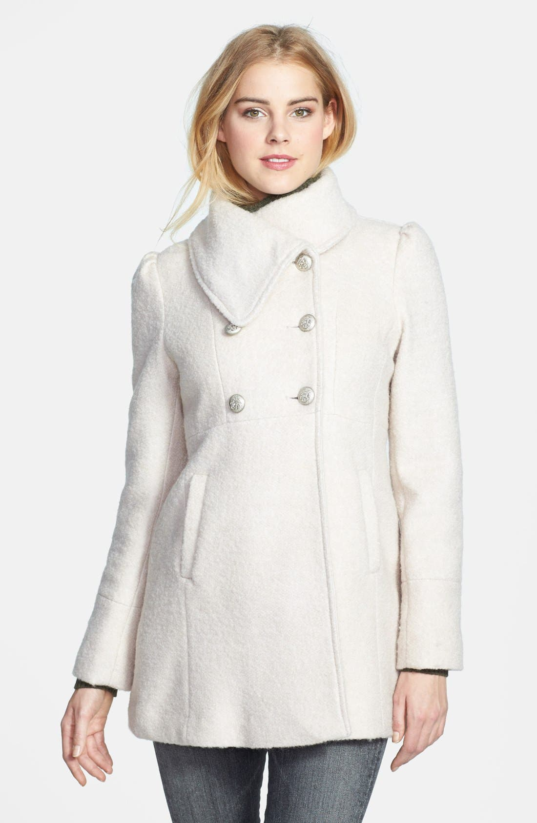 Alternate Image 1 Selected - GUESS Envelope Collar Double Breasted Bouclé Coat (Petite)