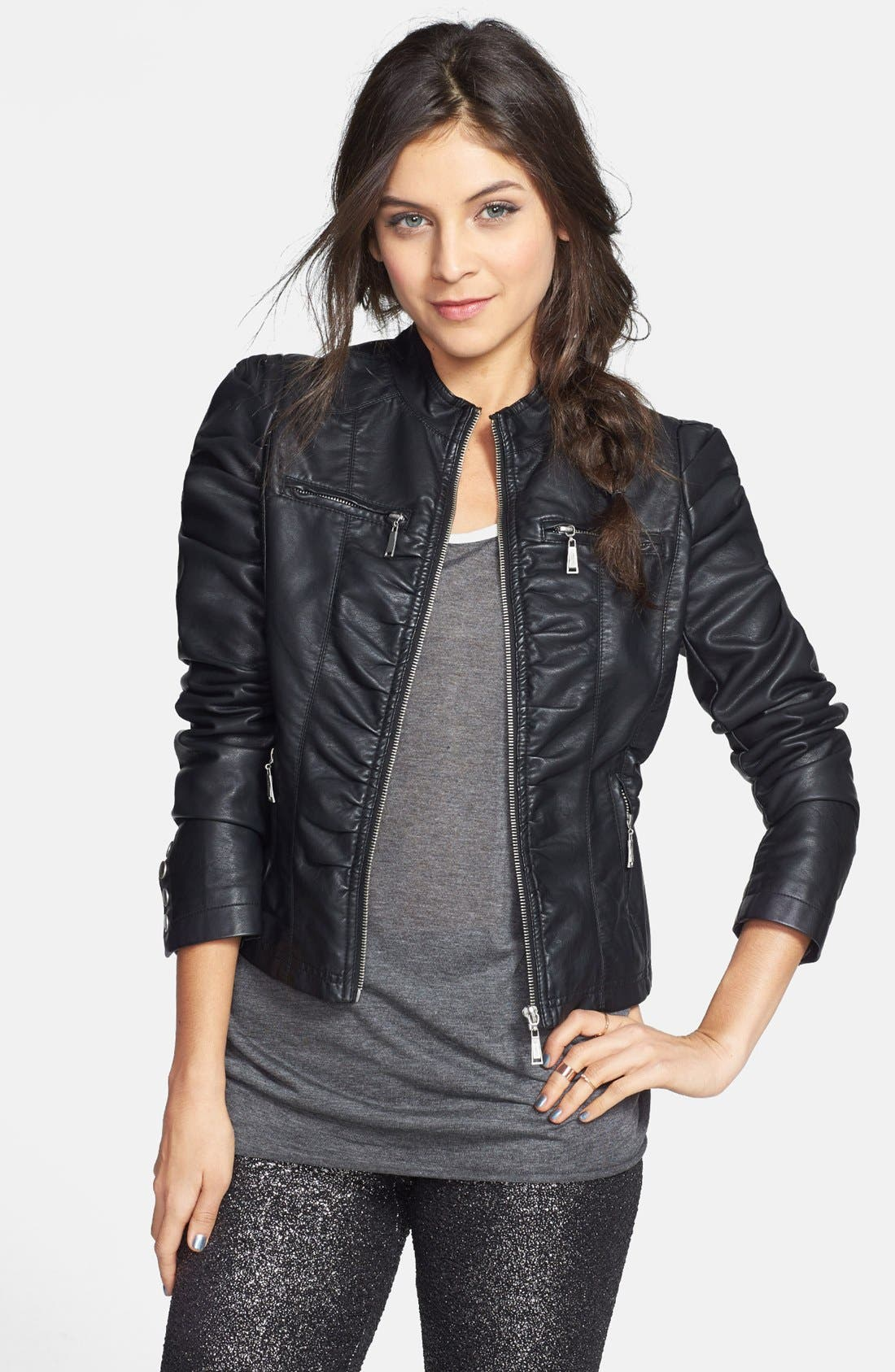 Alternate Image 1 Selected - Jou Jou Ruched Faux Leather Jacket (Juniors)