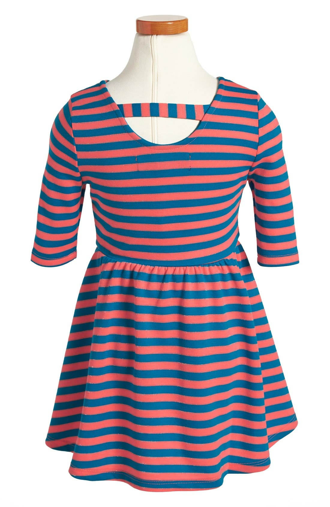 Alternate Image 2  - Weavers Stripe Ponte Three Quarter Sleeve Dress (Toddler Girls)