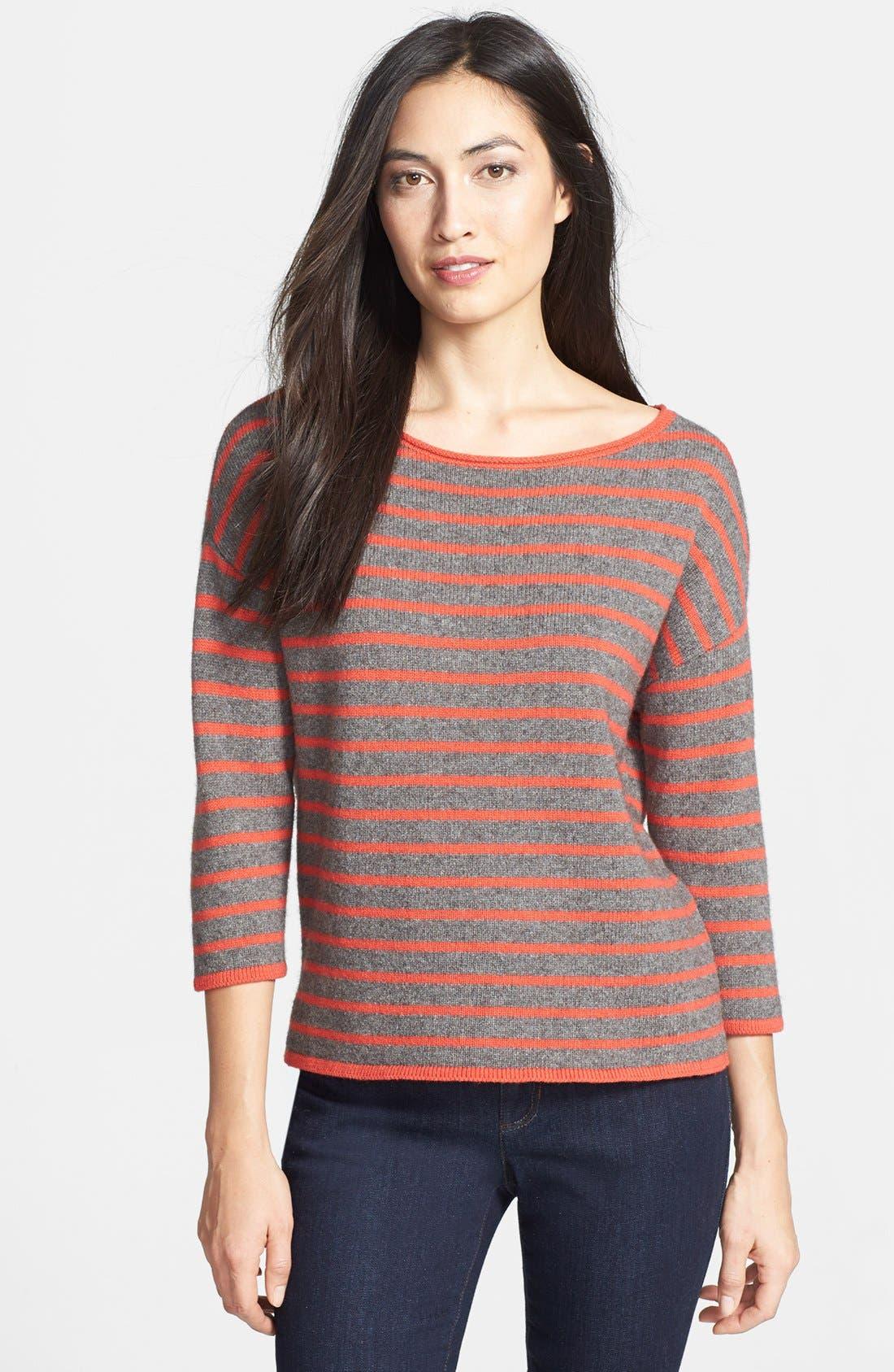 Main Image - Eileen Fisher Bateau Neck Boxy Sweater (Regular & Petite)
