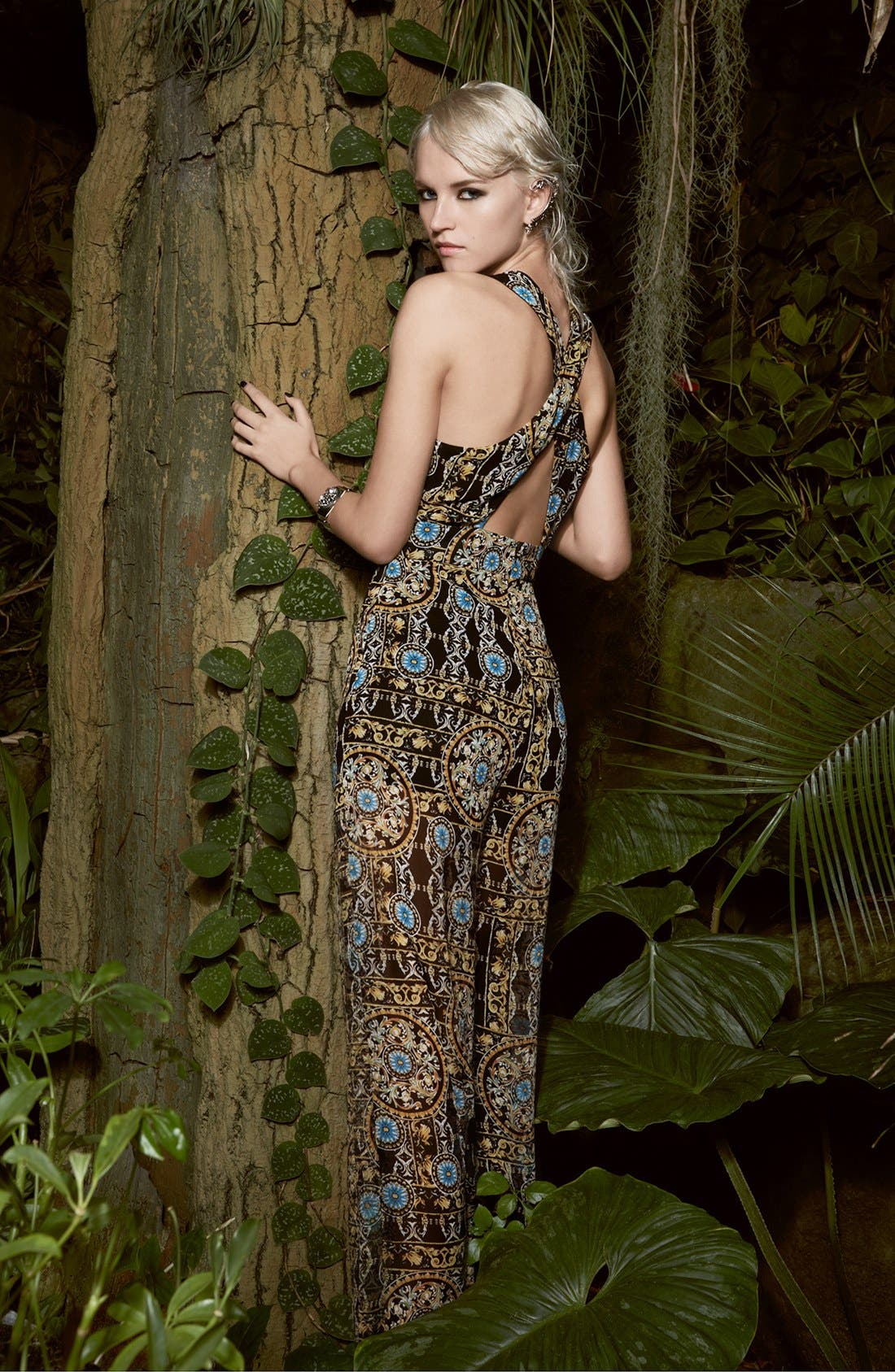 Alternate Image 4  - ASTR Print Cross Back Jumpsuit