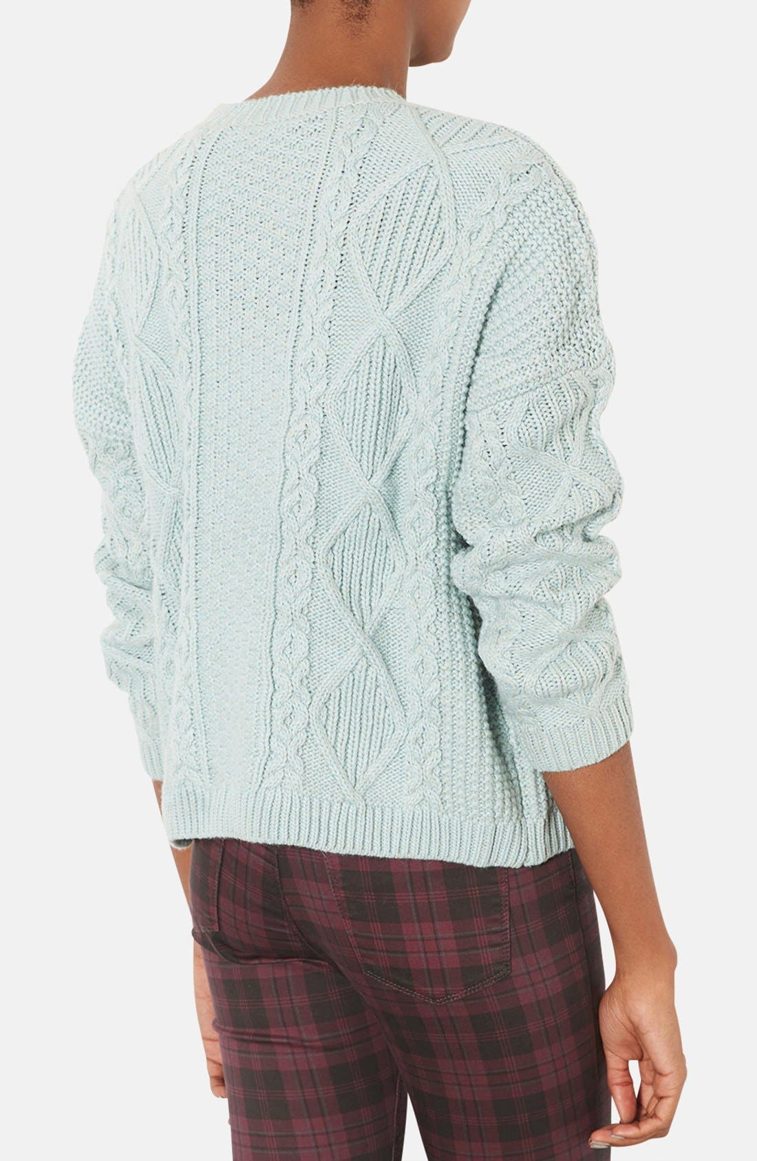 Alternate Image 2  - Topshop Cable Knit Sweater (Petite)