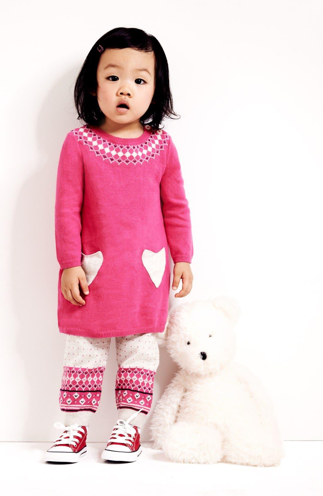 Alternate Image 1 Selected - Nordstrom Baby Fair Isle Sweater Dress & Leggings (Baby Girls)