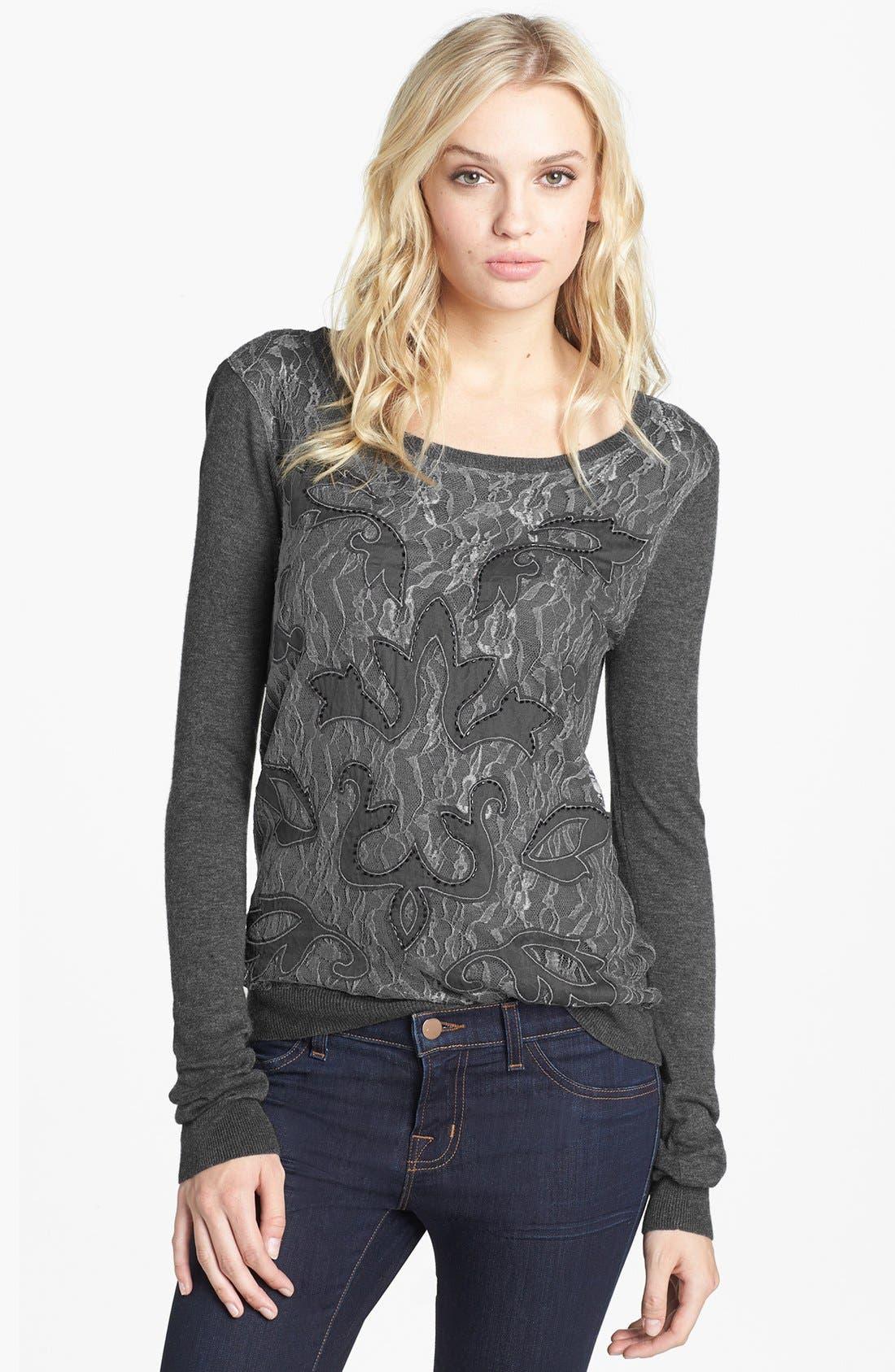 Alternate Image 1 Selected - Hinge® Beaded Lace Overlay Sweater