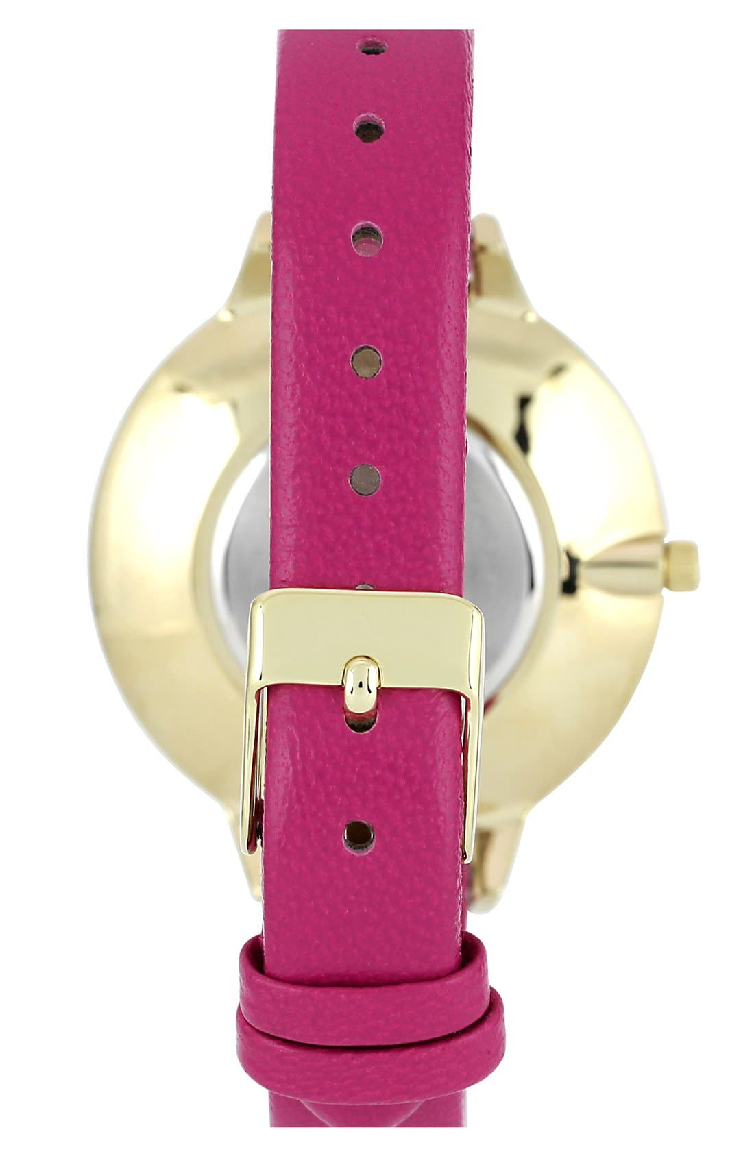 Alternate Image 2  - Anne Klein Round Slim Leather Strap Watch, 38mm