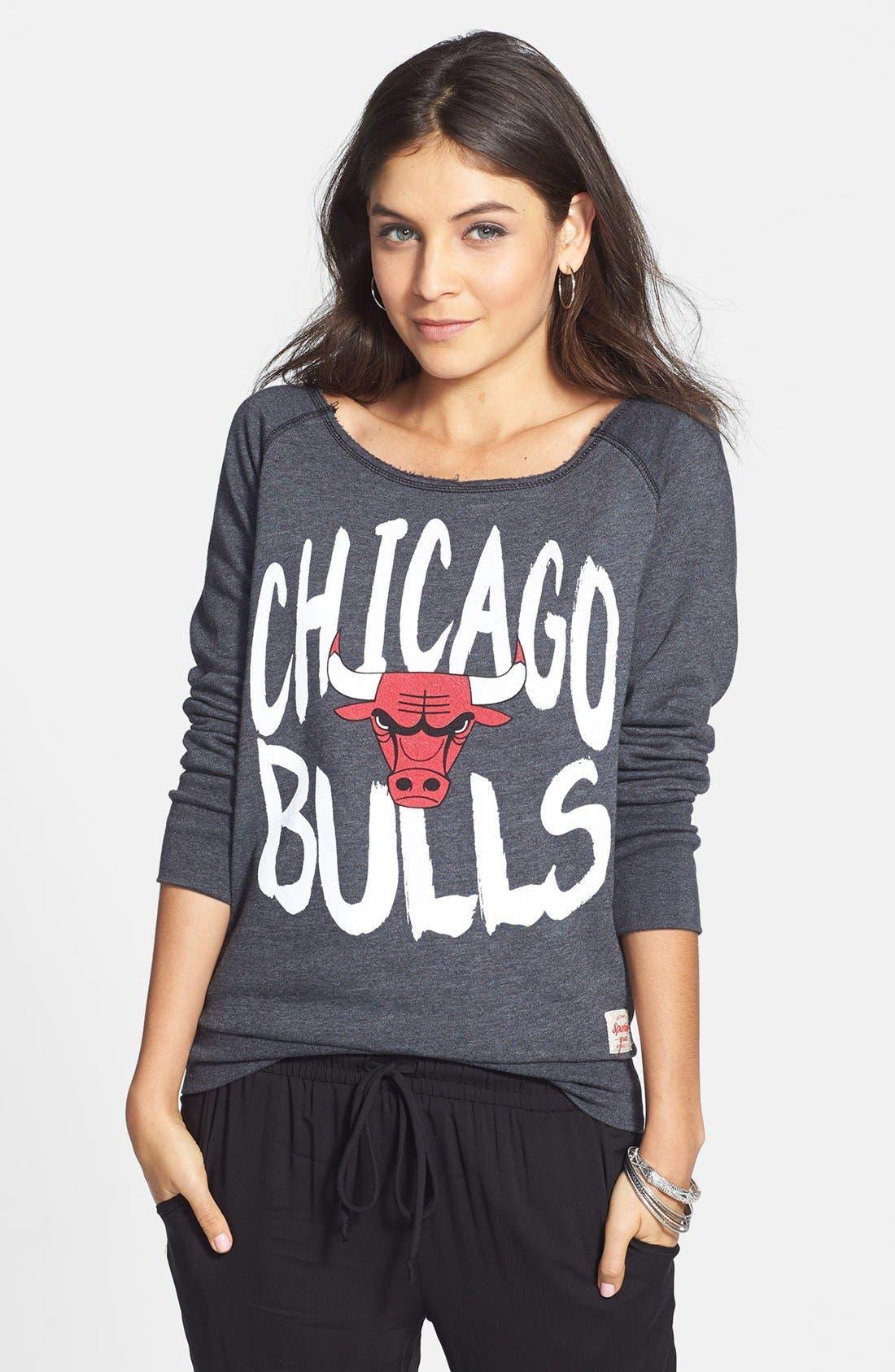 Alternate Image 1 Selected - Sportiqe 'Chicago Bulls' Wide Neck Fleece Sweatshirt (Juniors) (Online Only)
