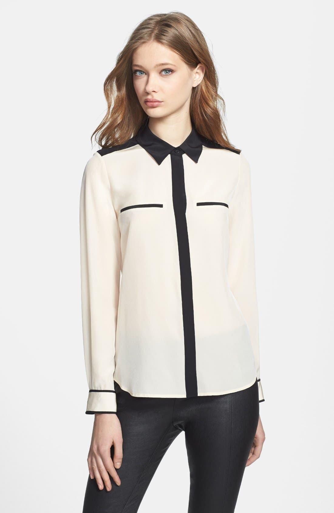 Alternate Image 1 Selected - Diane von Furstenberg 'Marah' Colorblock Silk Blouse