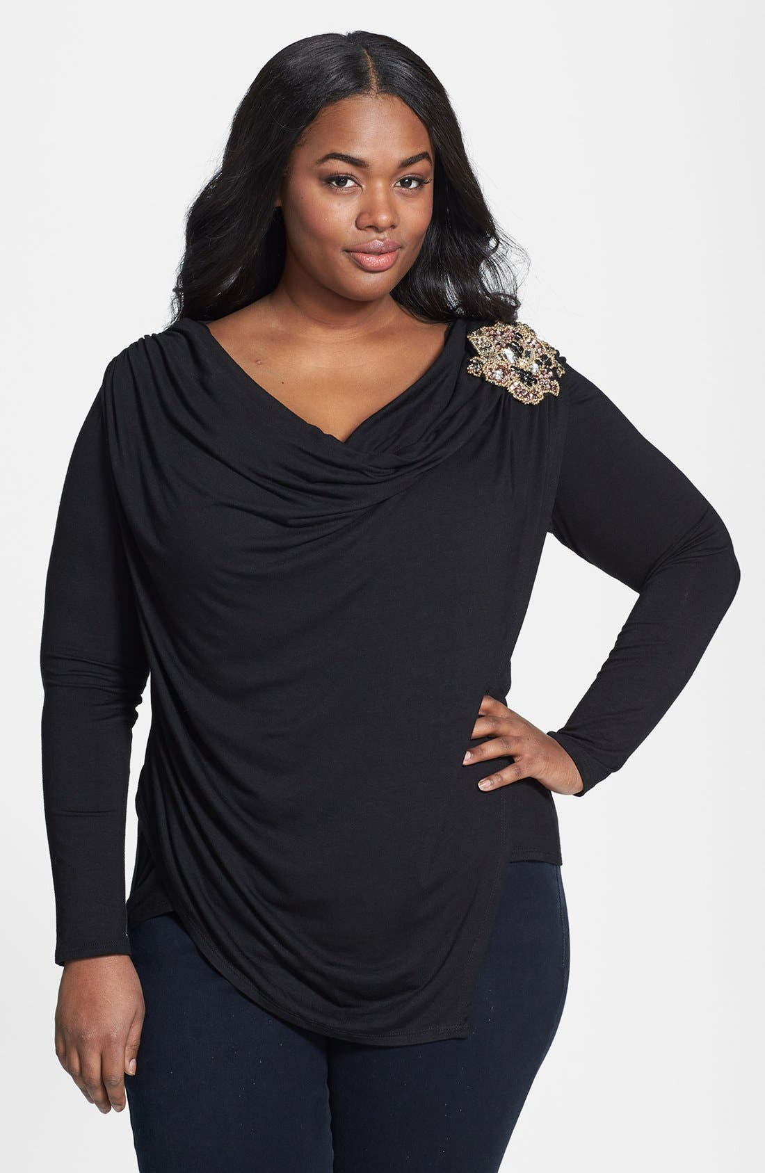 Main Image - Loveappella Embellished Jersey Wrap Top (Plus Size)