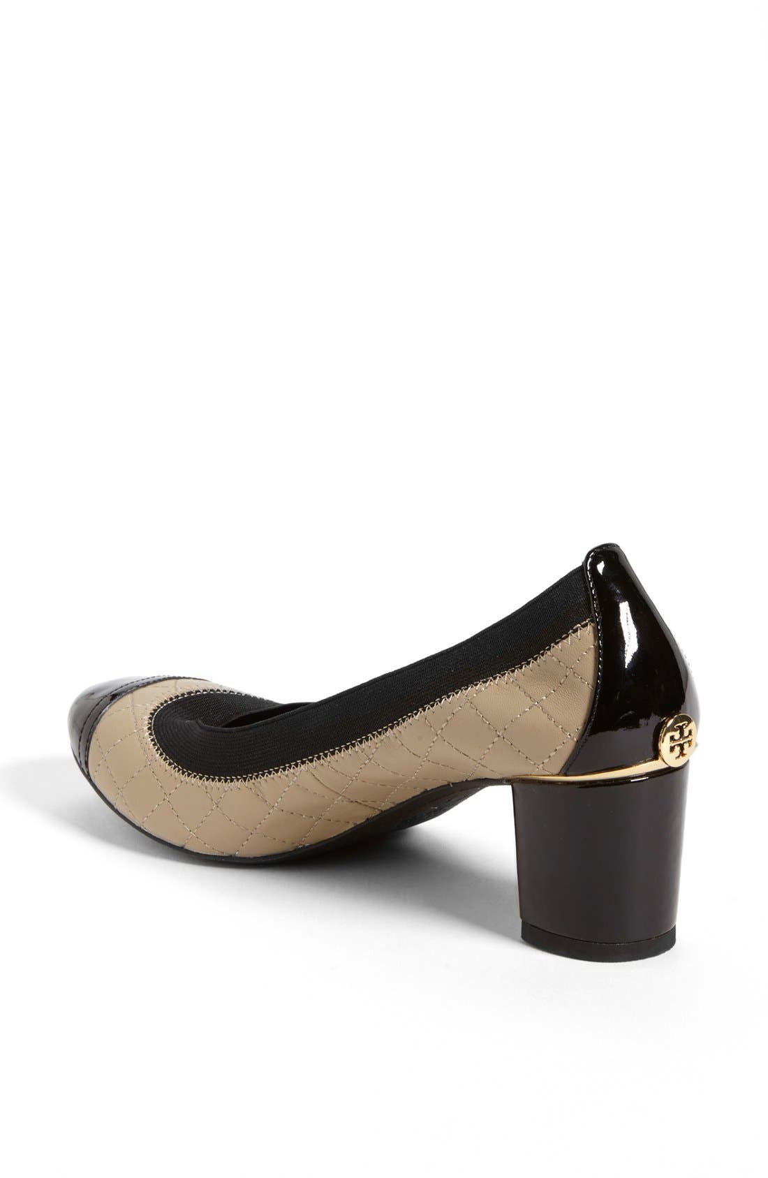 Alternate Image 2  - Tory Burch 'Carrie' Quilted Leather Cap Toe Pump