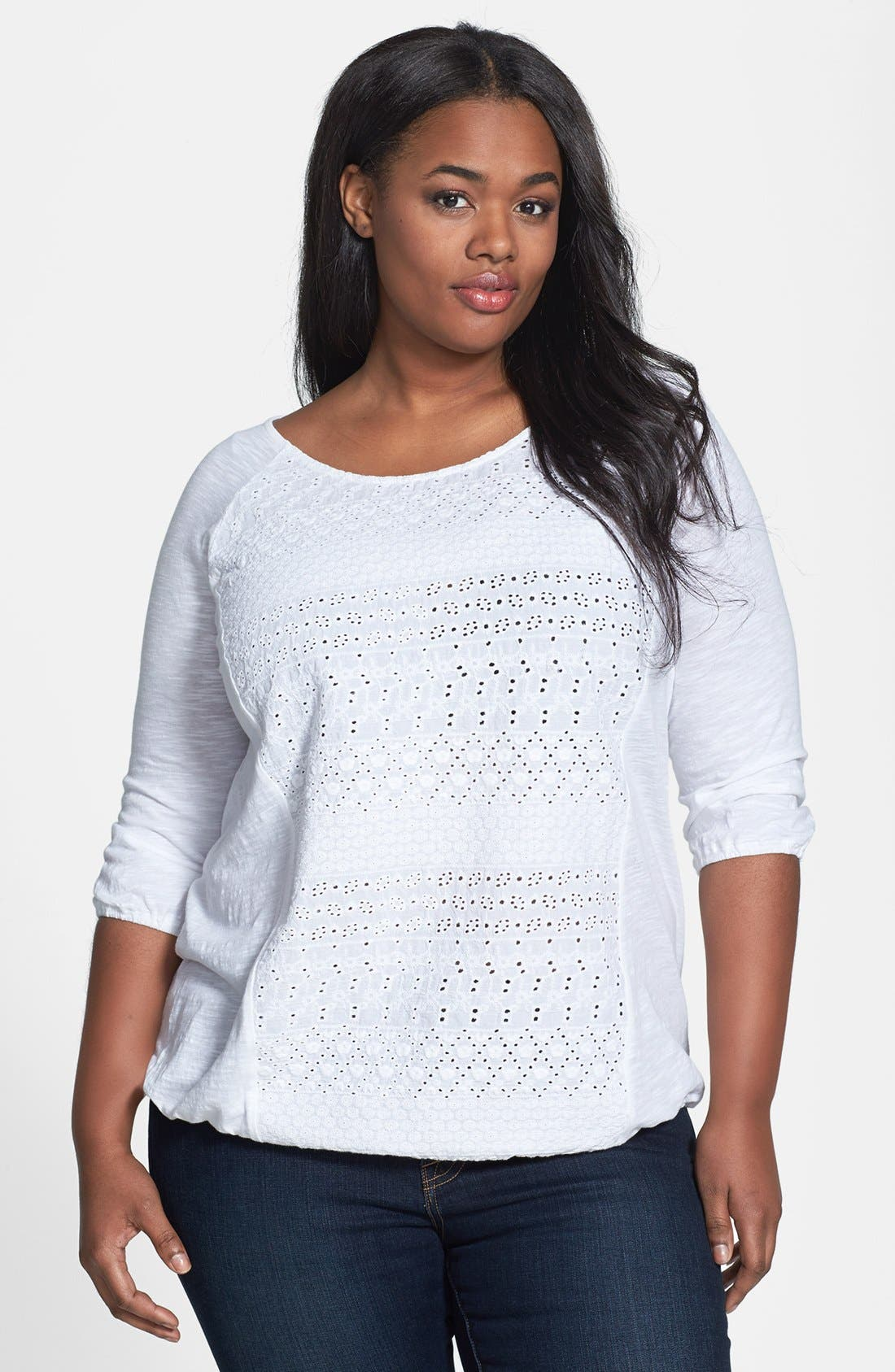 Alternate Image 1 Selected - Lucky Brand Schiffli Front Raglan Sleeve Top (Plus Size)
