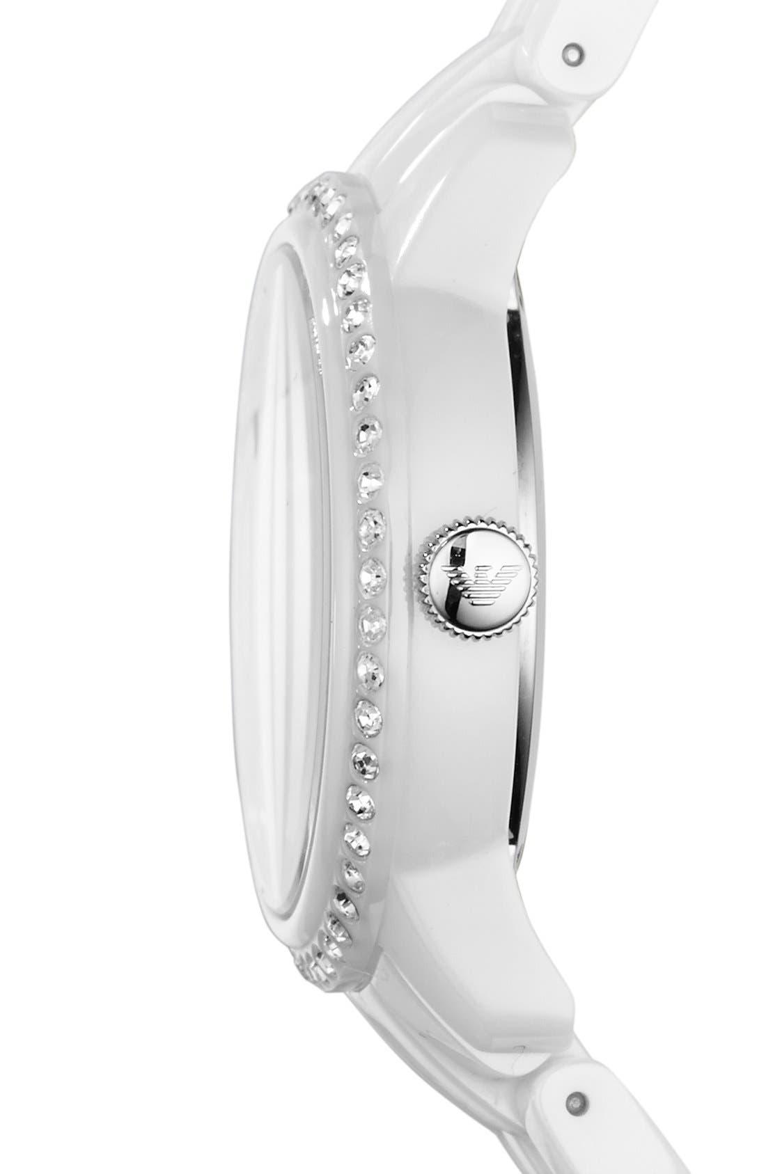 Alternate Image 3  - Emporio Armani Crystal Bezel Ceramic Bracelet Watch, 33mm