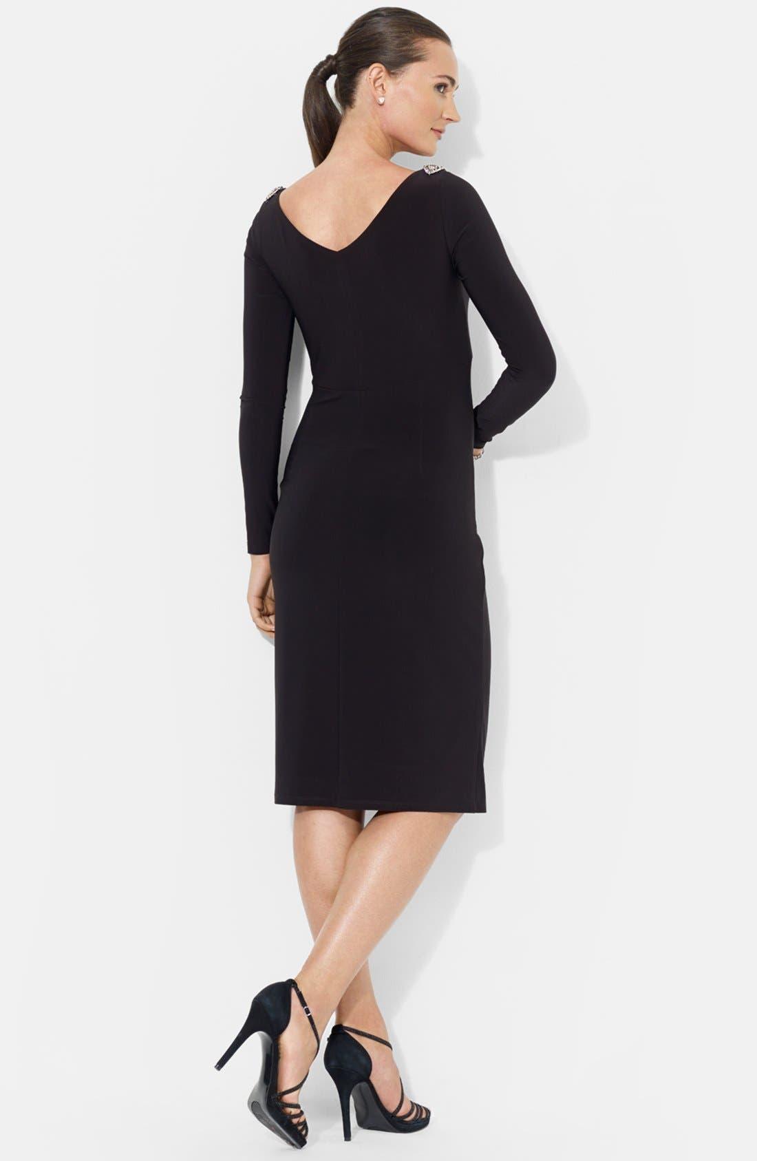 Alternate Image 2  - Lauren Ralph Lauren Embellished Shoulder Jersey Dress
