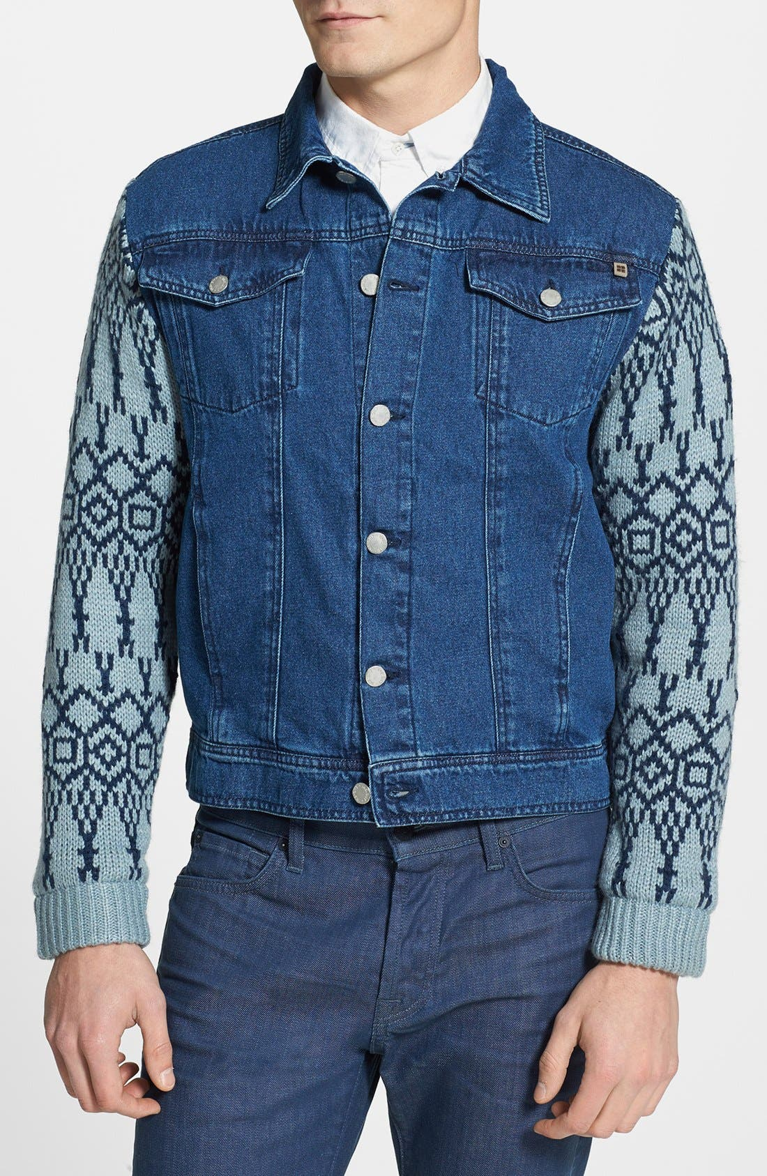 Main Image - Insight 'Revival' Denim Jacket with Knit Sleeves