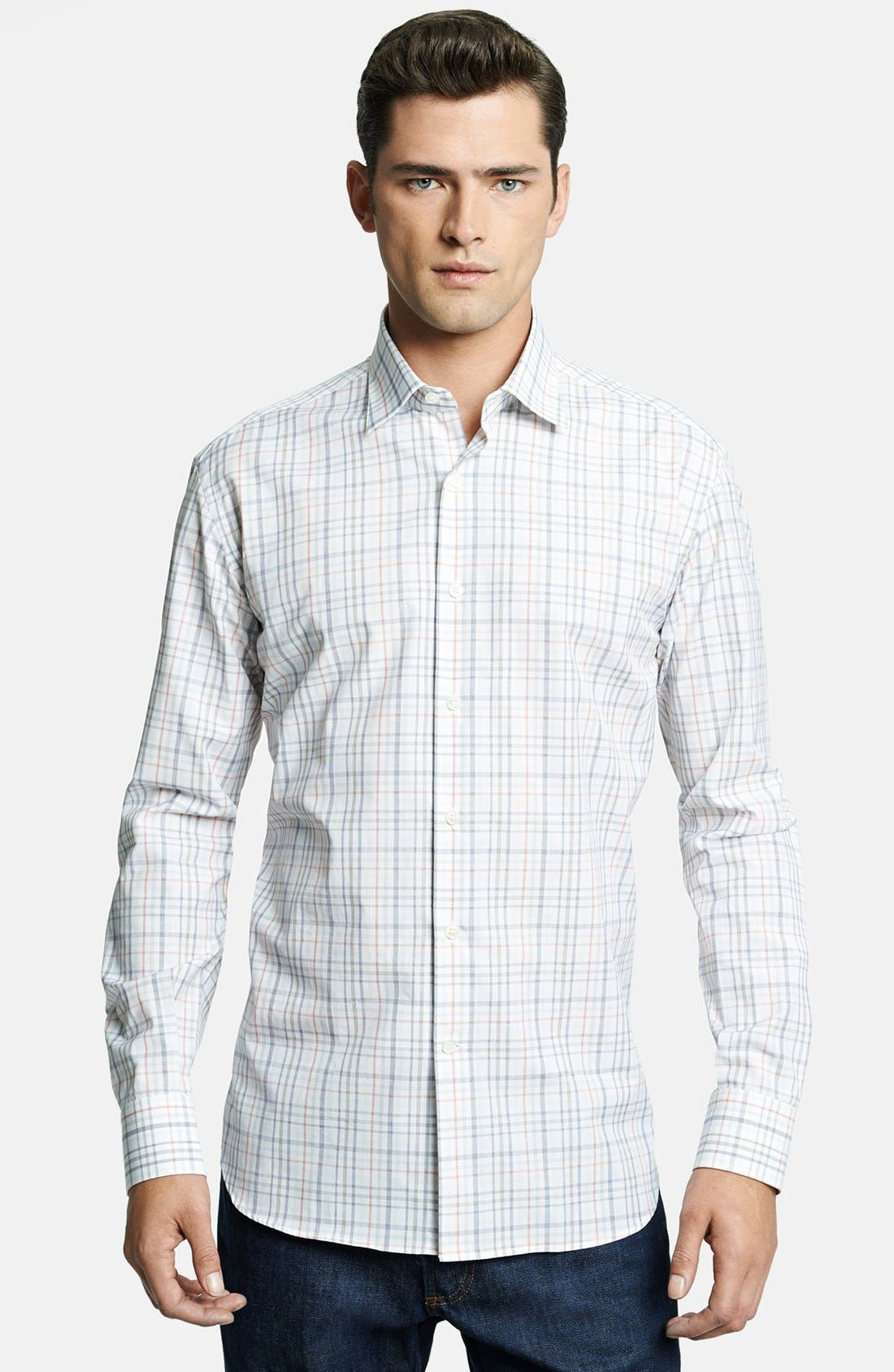 Alternate Image 1 Selected - Salvatore Ferragamo Trim Fit Plaid Sport Shirt