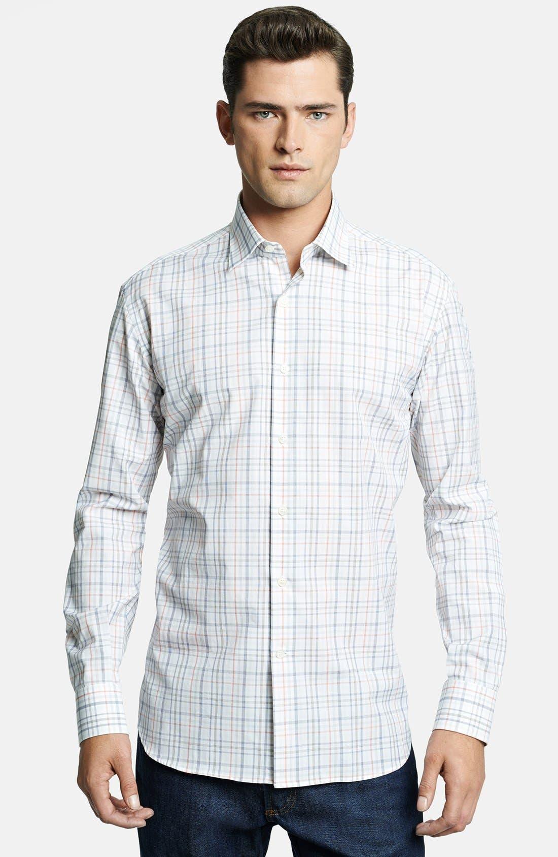 Main Image - Salvatore Ferragamo Trim Fit Plaid Sport Shirt