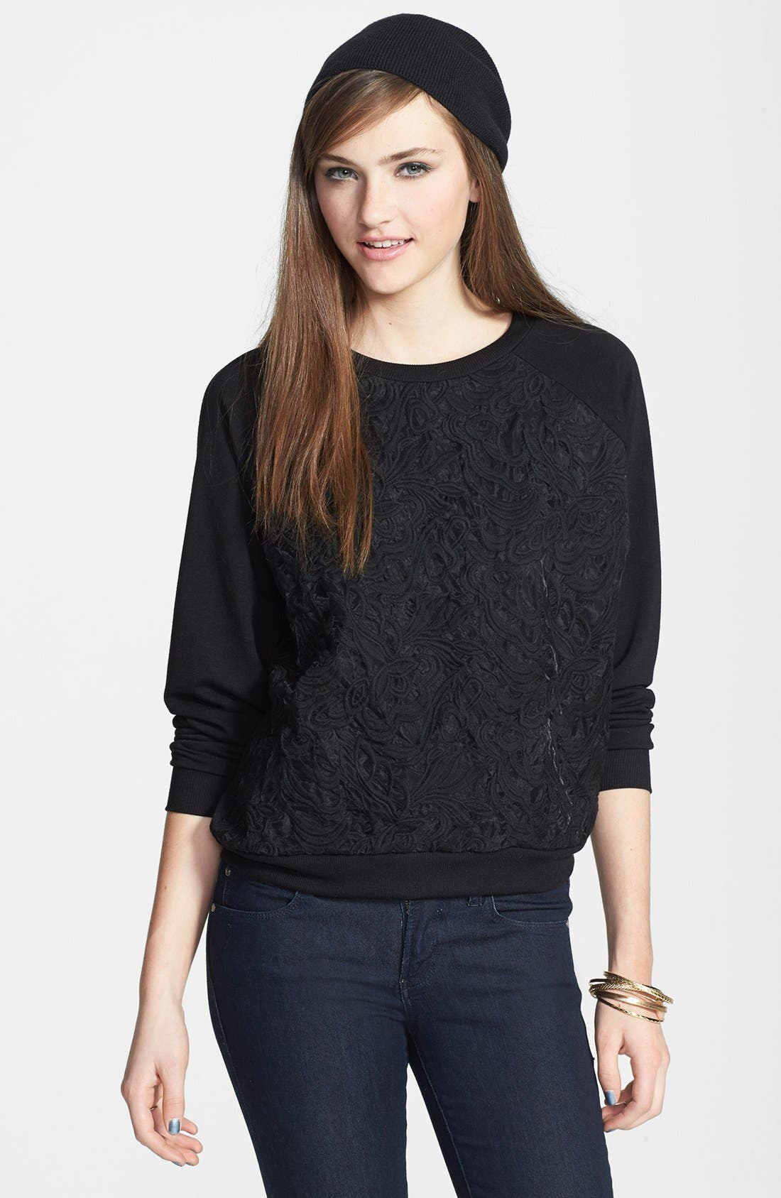 Main Image - Elodie Embroidered Organza Sweatshirt (Juniors)