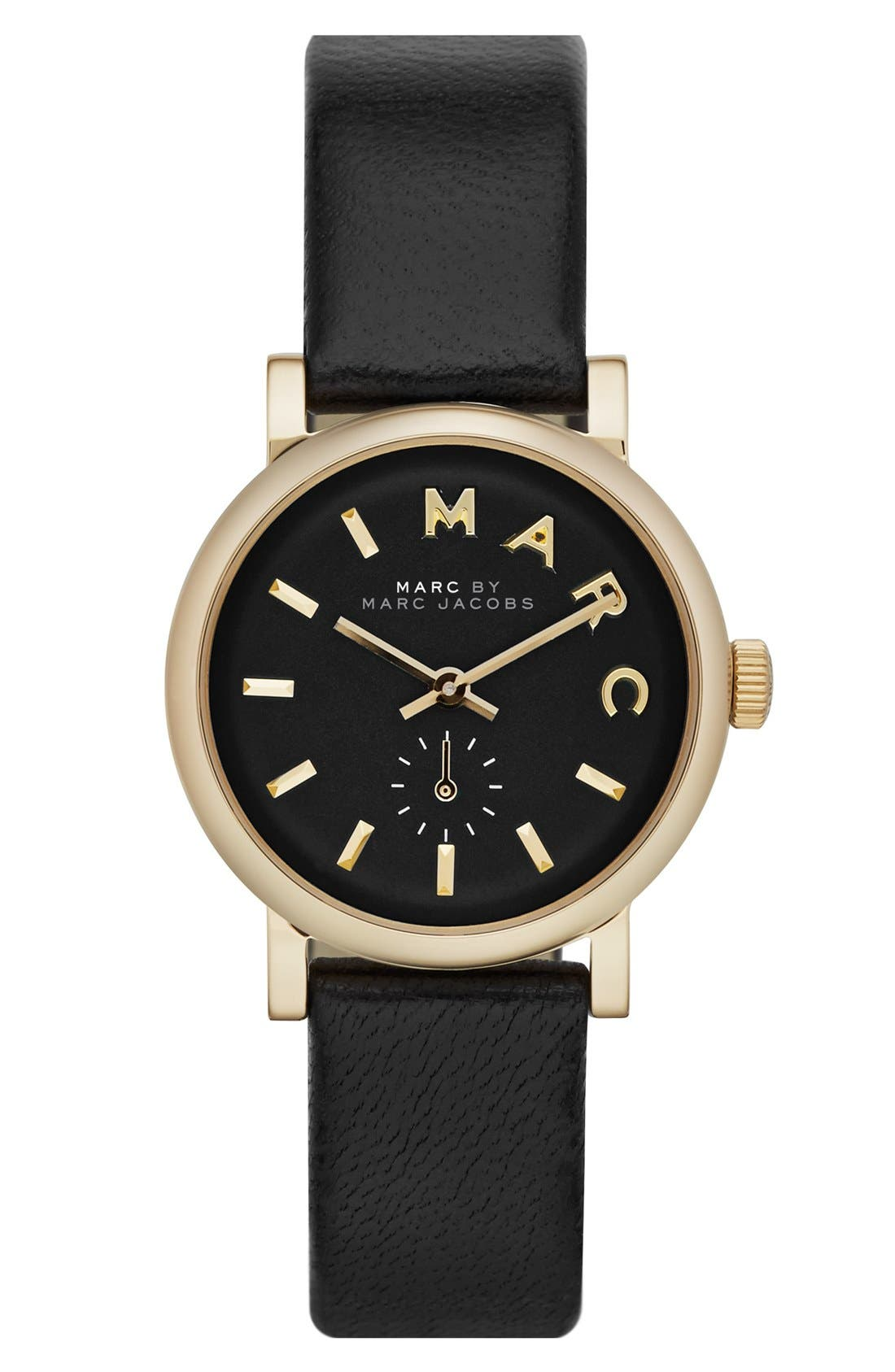 Main Image - MARC JACOBS 'Baker' Round Leather Strap Watch, 28mm