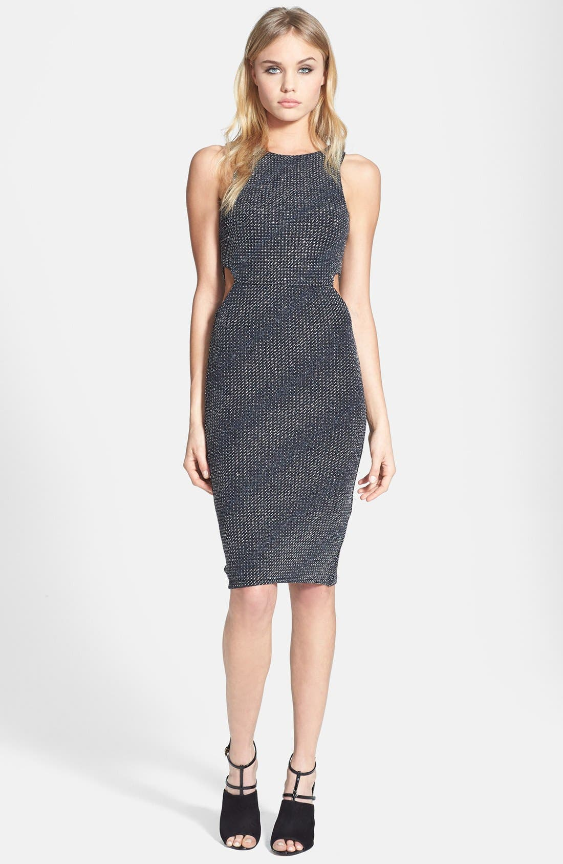 Alternate Image 1 Selected - Topshop Cutout Metallic Jersey Midi Dress