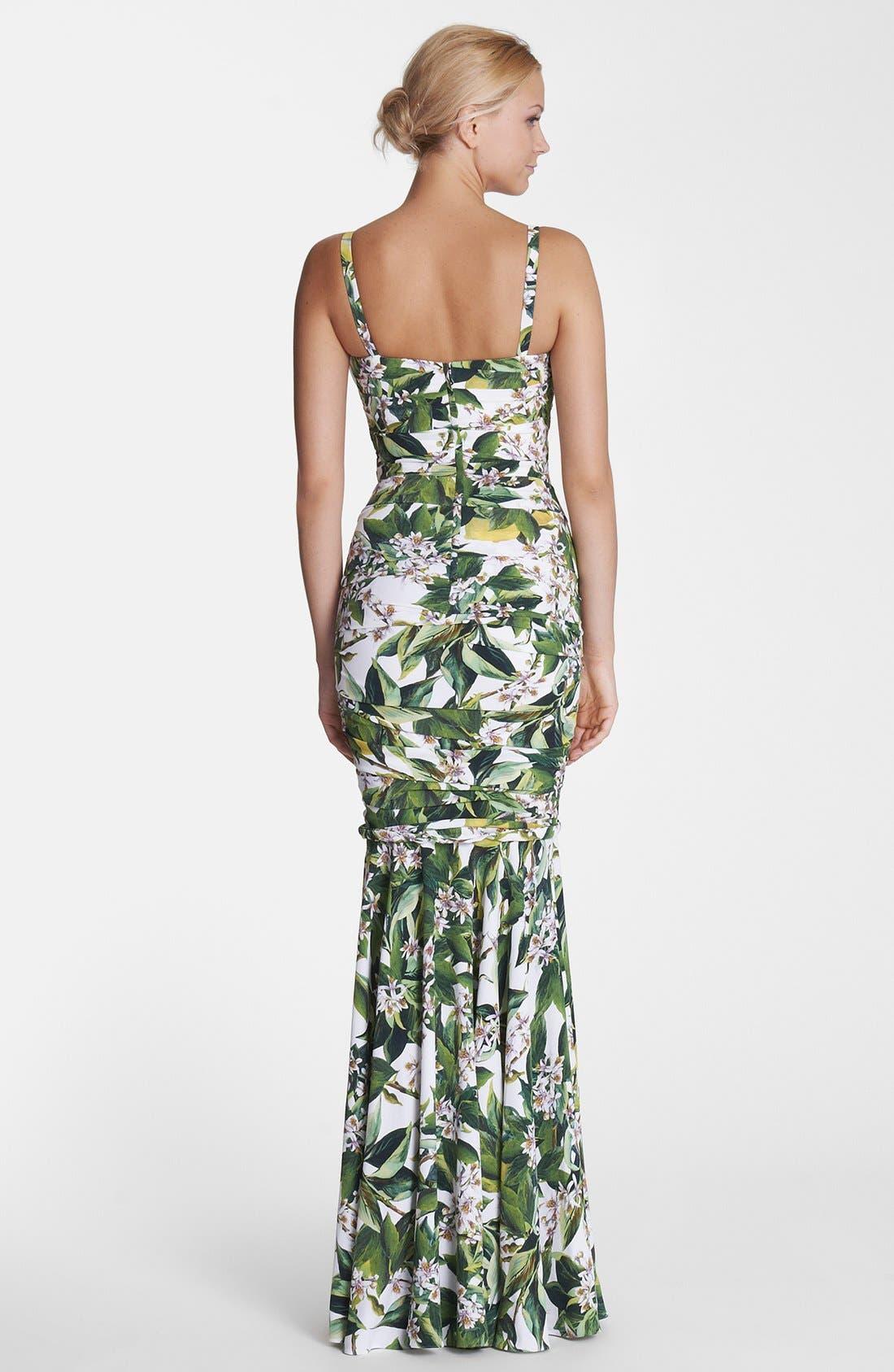 Alternate Image 2  - Dolce&Gabbana Lemon Print Ruched Gown