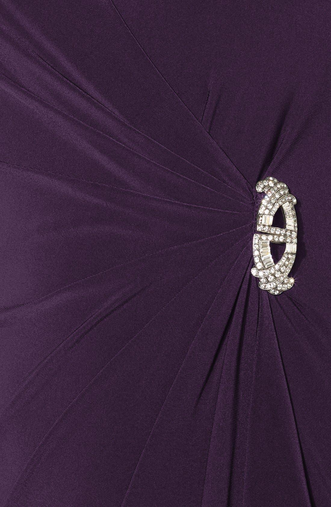 Alternate Image 3  - Lauren Ralph Lauren Side Ruffle Matte Jersey Gown (Plus Size)