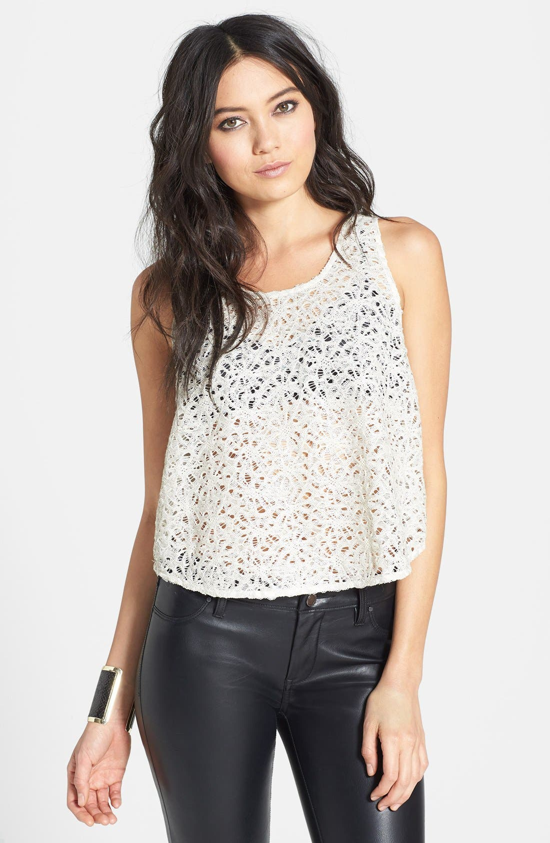 Main Image - ASTR Sequin Lace Layered Tank