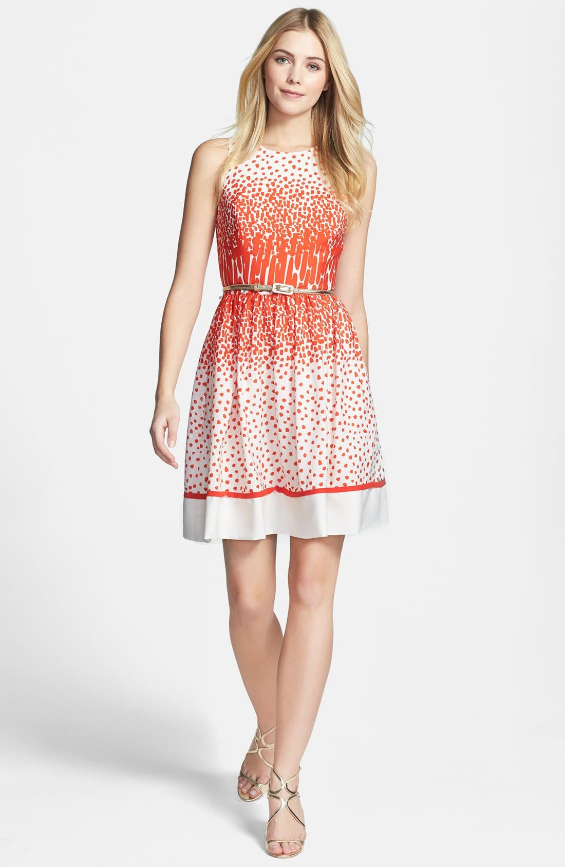 Alternate Image 3  - Eliza J Print Crêpe de Chine Belted Fit & Flare Dress (Regular & Petite)