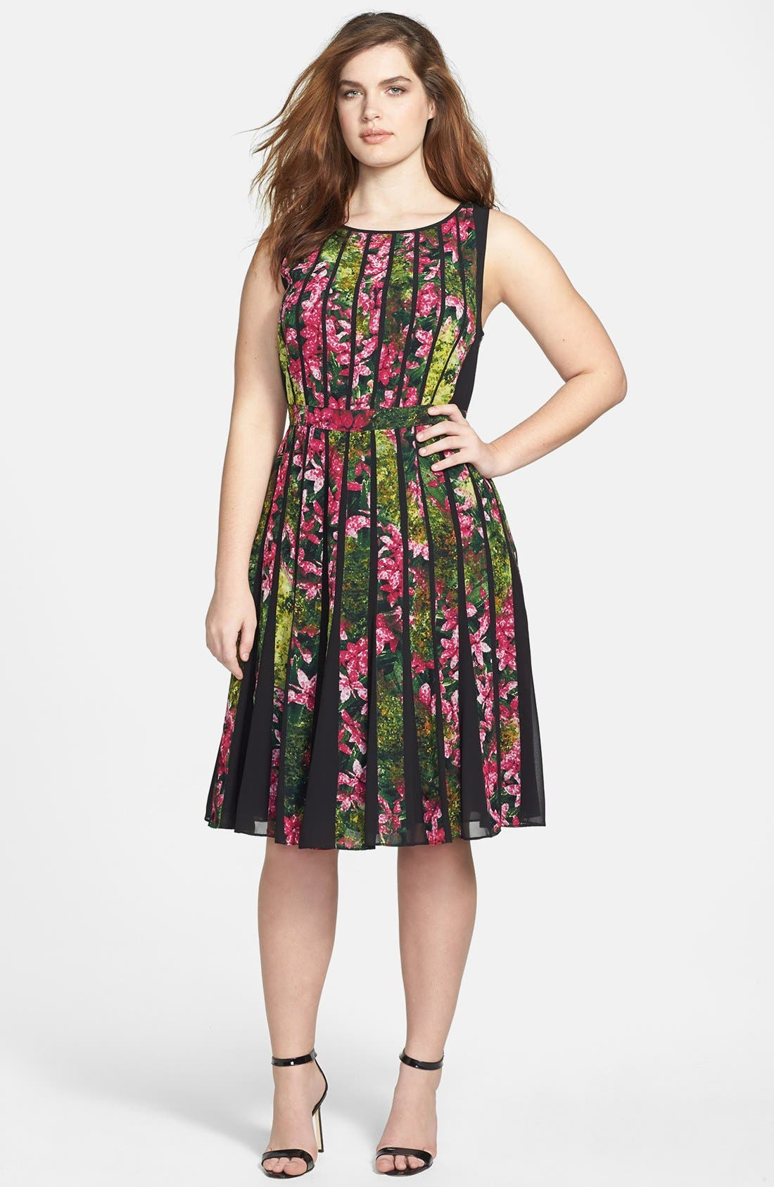 Alternate Image 1 Selected - Adrianna Papell Floral Pleated Dress (Plus Size)