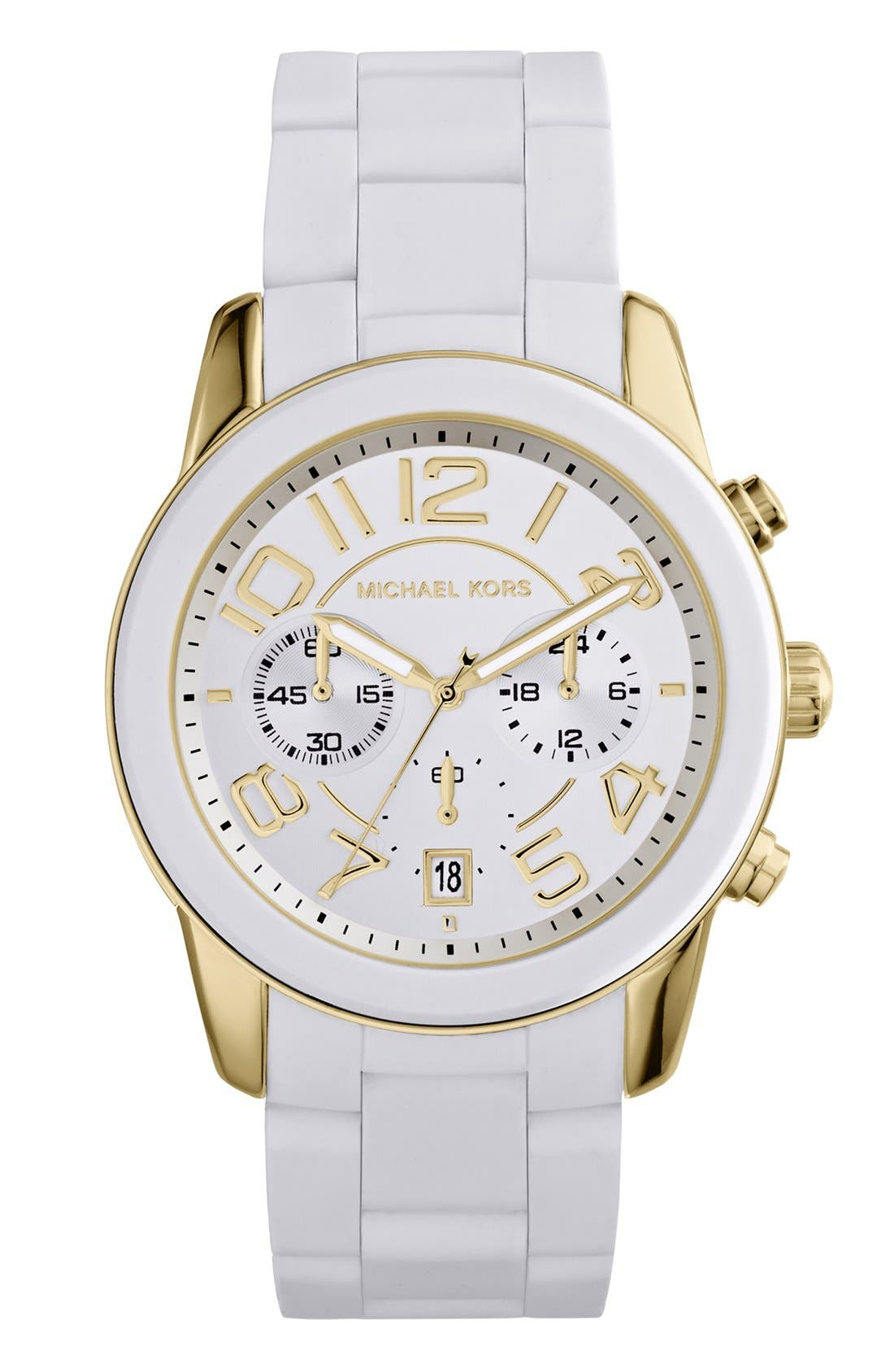 Alternate Image 1 Selected - Michael Kors 'Mercer' Chronograph Silicone Strap Watch, 42mm