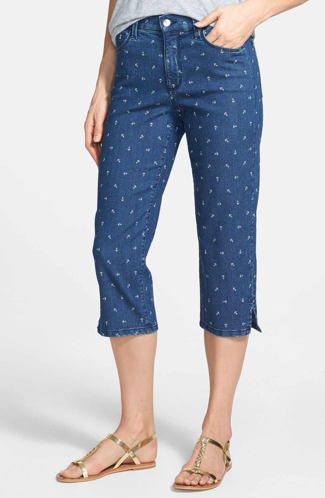 Alternate Image 1 Selected - NYDJ 'Nanette' Print Stretch Crop Jeans (Topeka)