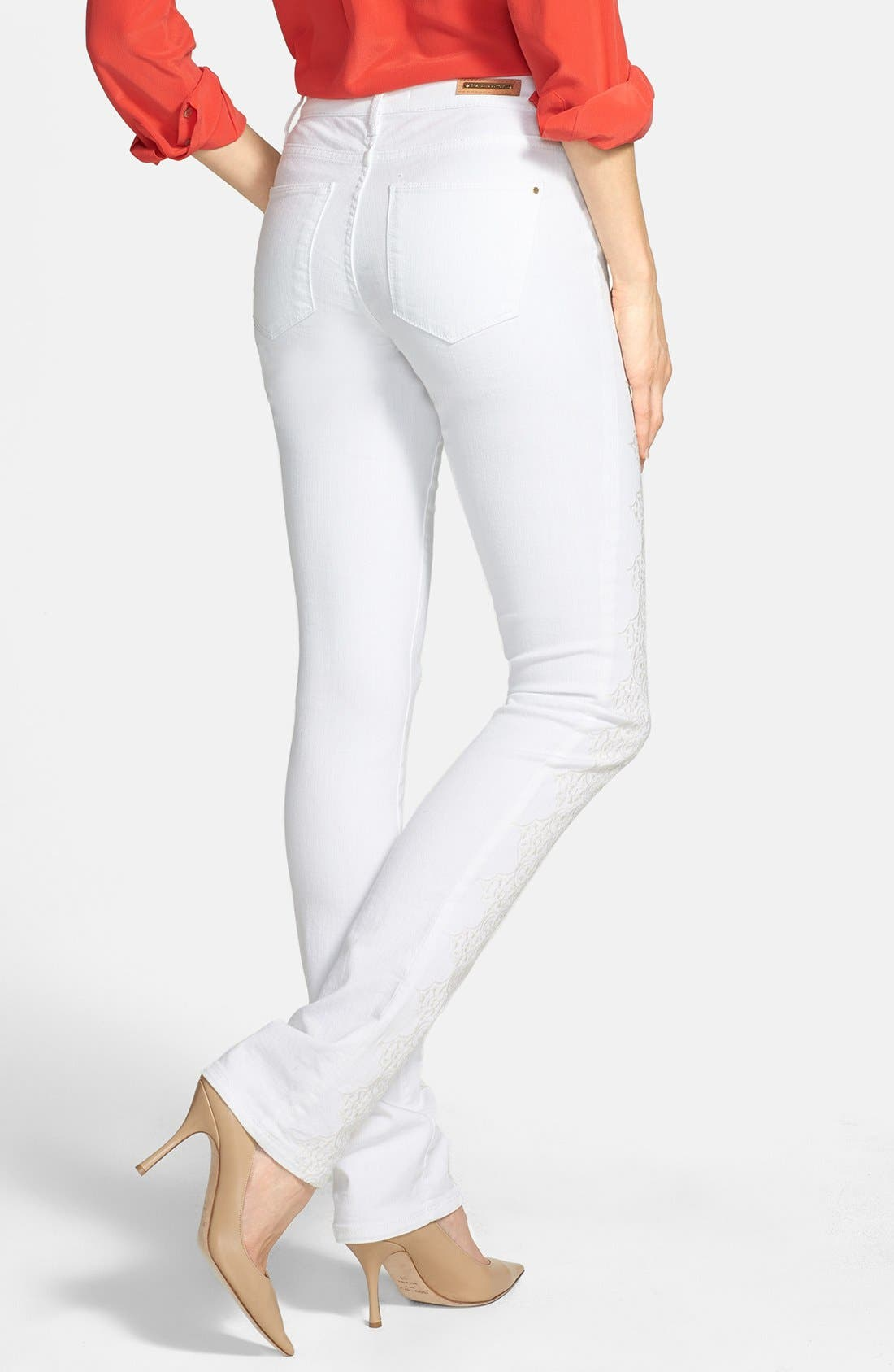 Alternate Image 2  - Rachel Roy Embroidered Stretch Cotton Skinny Jeans (Natural White)