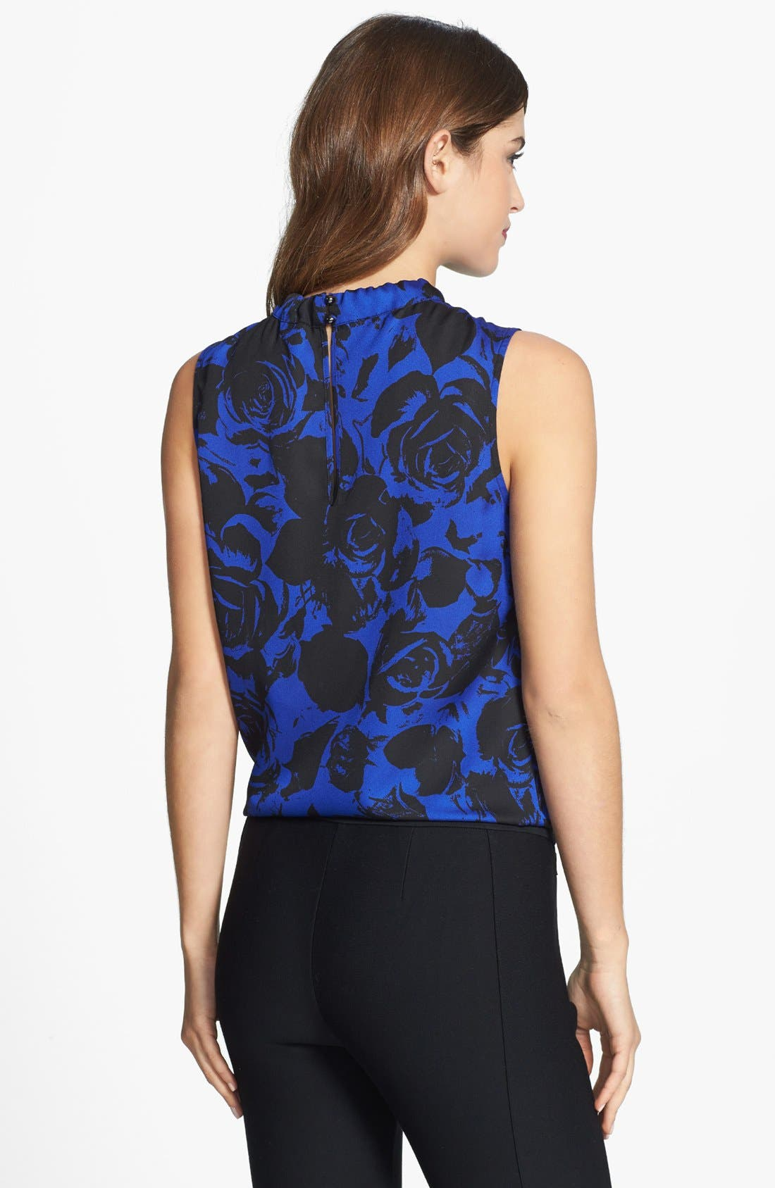 Alternate Image 2  - Anne Klein Rose Print Tie Neck Blouse (Petite)