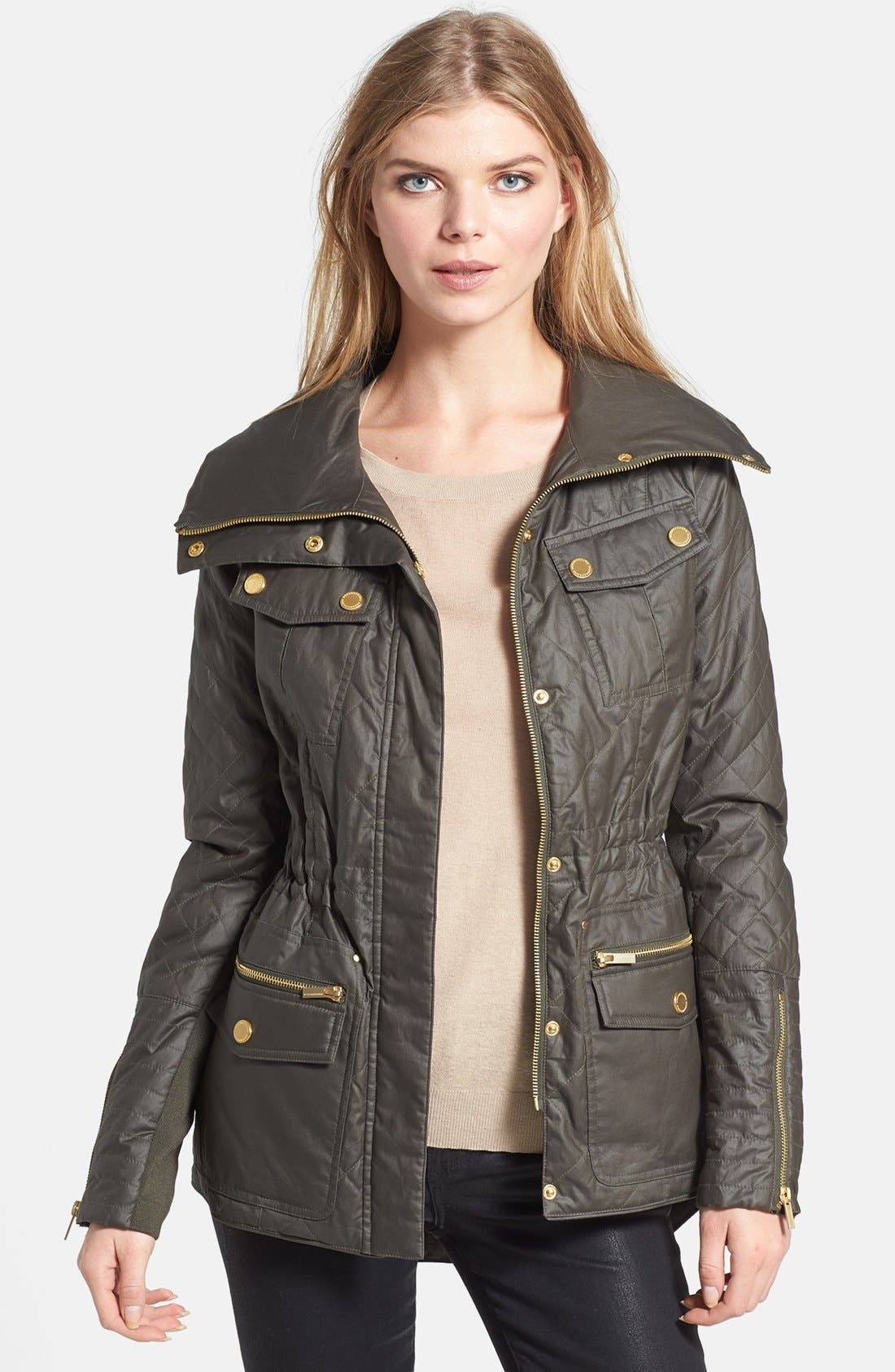 Main Image - BCBGMAXAZRIA 'Kelly' Quilted High/Low Anorak with Removable Liner