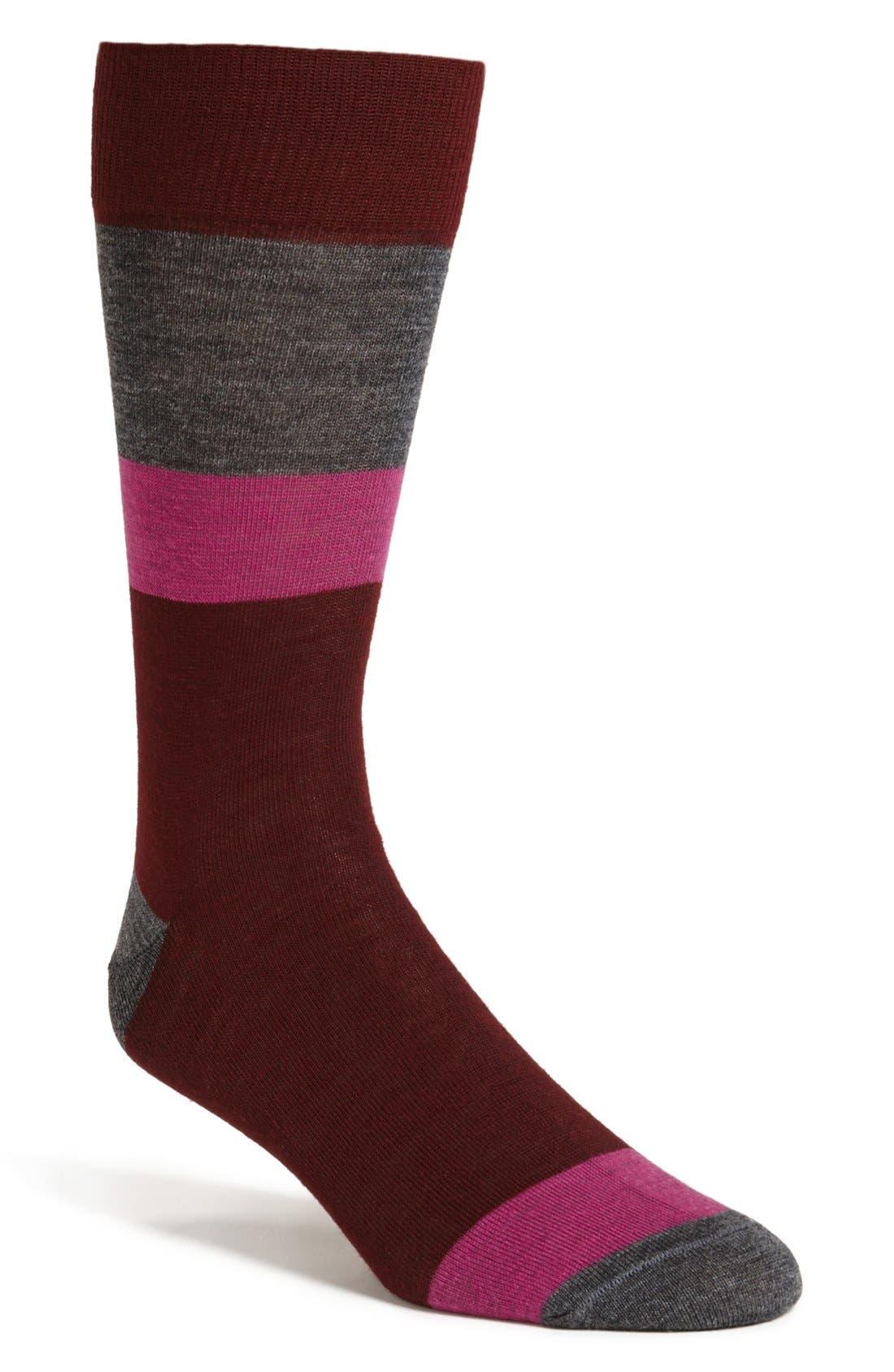 Alternate Image 1 Selected - Lorenzo Uomo Block Stripe Socks