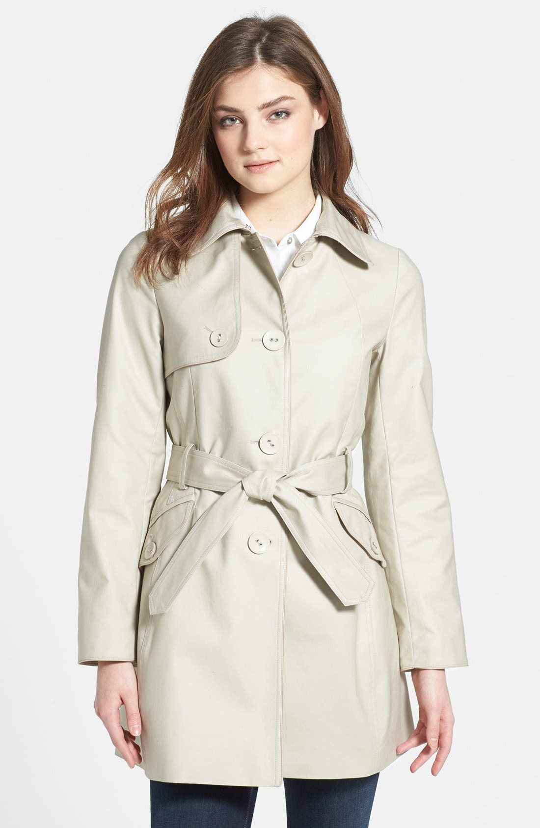 Main Image - Kristen Blake Piped Stretch Cotton Trench Coat (Regular & Petite)